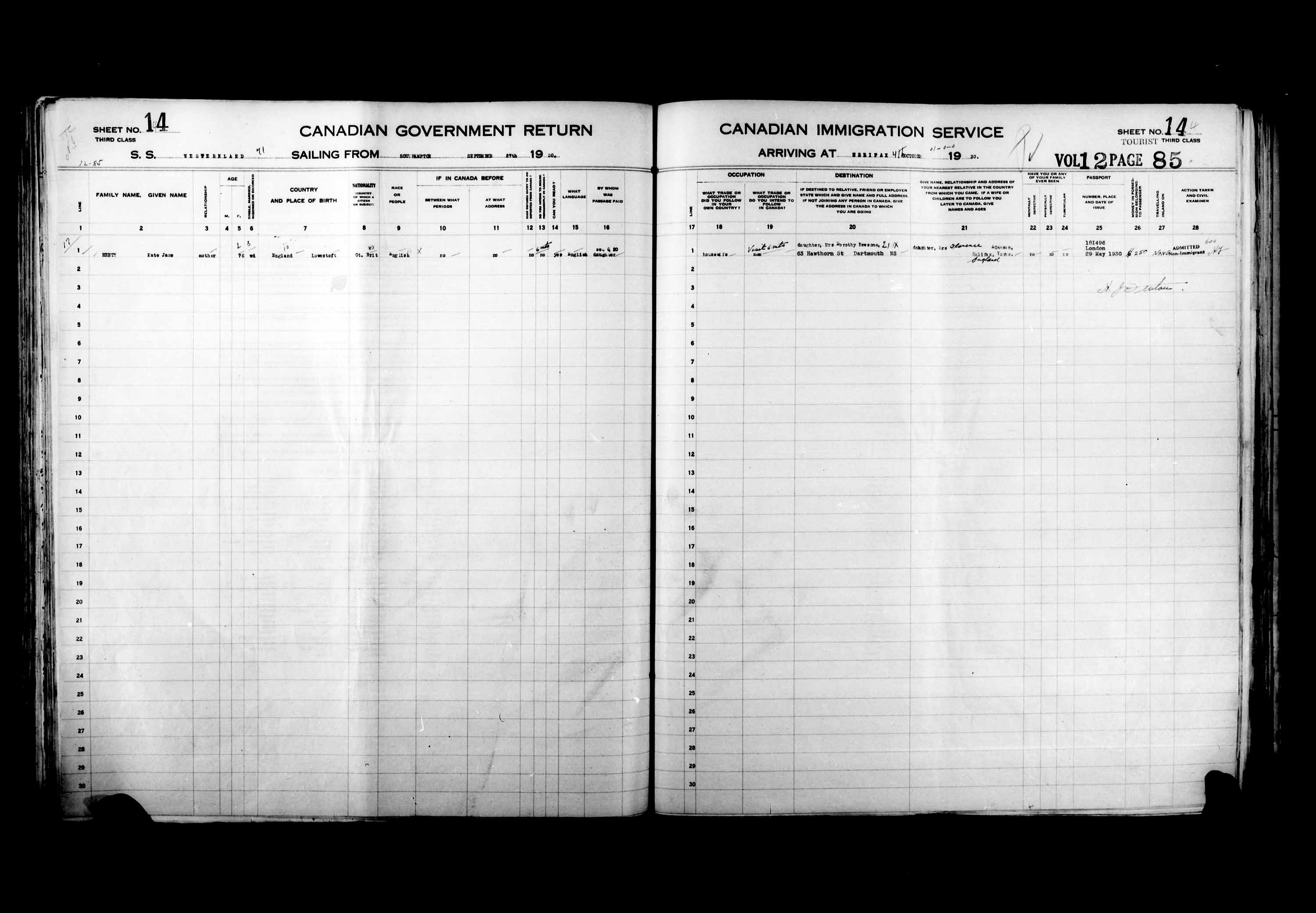 Title: Passenger Lists: Halifax (1925-1935) - Mikan Number: 134853 - Microform: t-14827