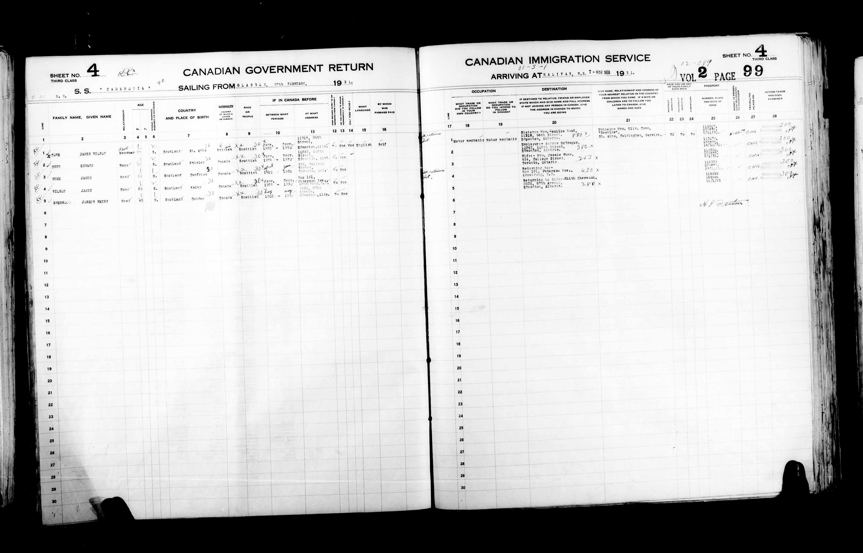 Title: Passenger Lists: Halifax (1925-1935) - Mikan Number: 134853 - Microform: t-14828