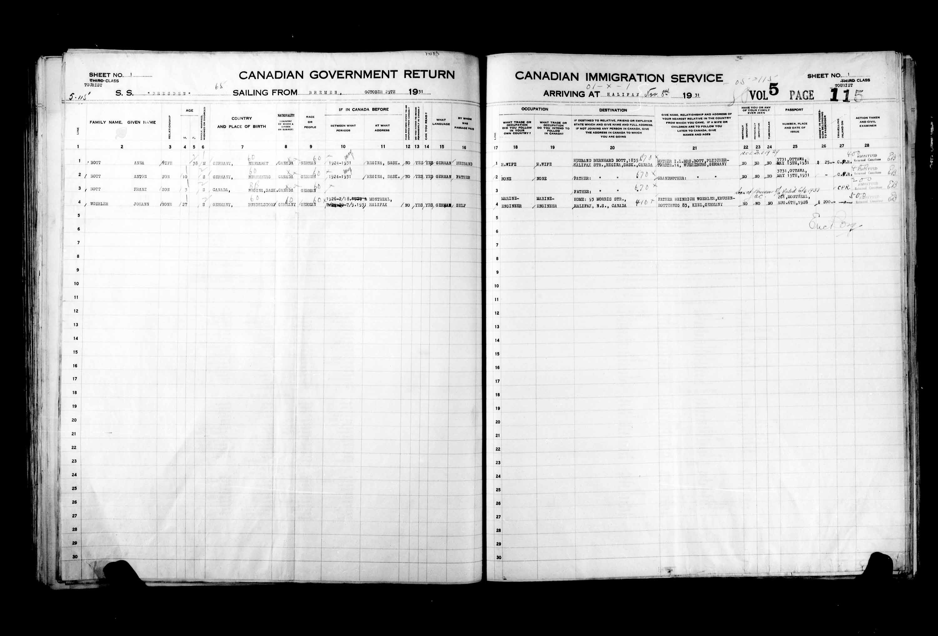 Title: Passenger Lists: Halifax (1925-1935) - Mikan Number: 134853 - Microform: t-14829
