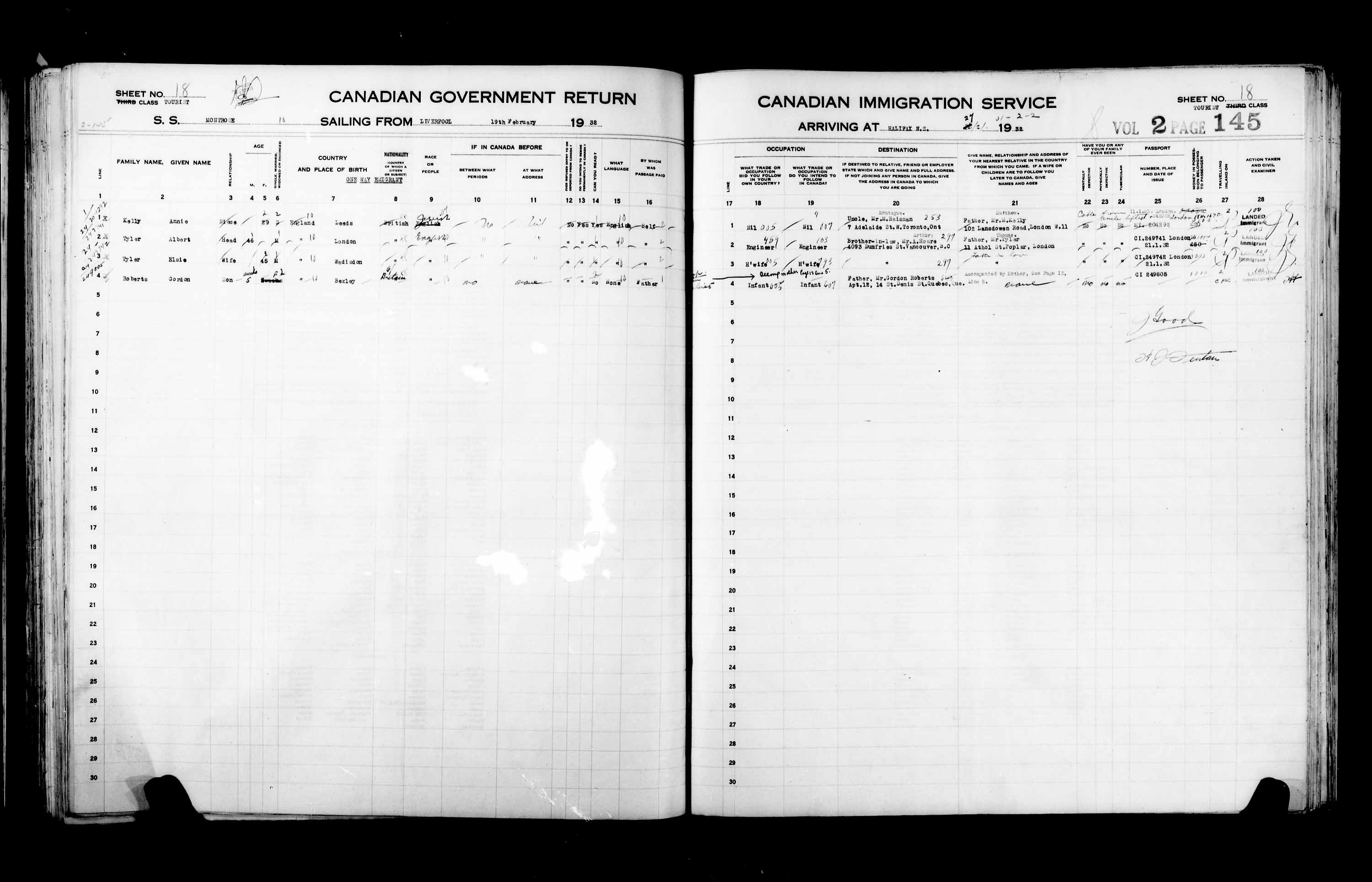 Title: Passenger Lists: Halifax (1925-1935) - Mikan Number: 134853 - Microform: t-14830