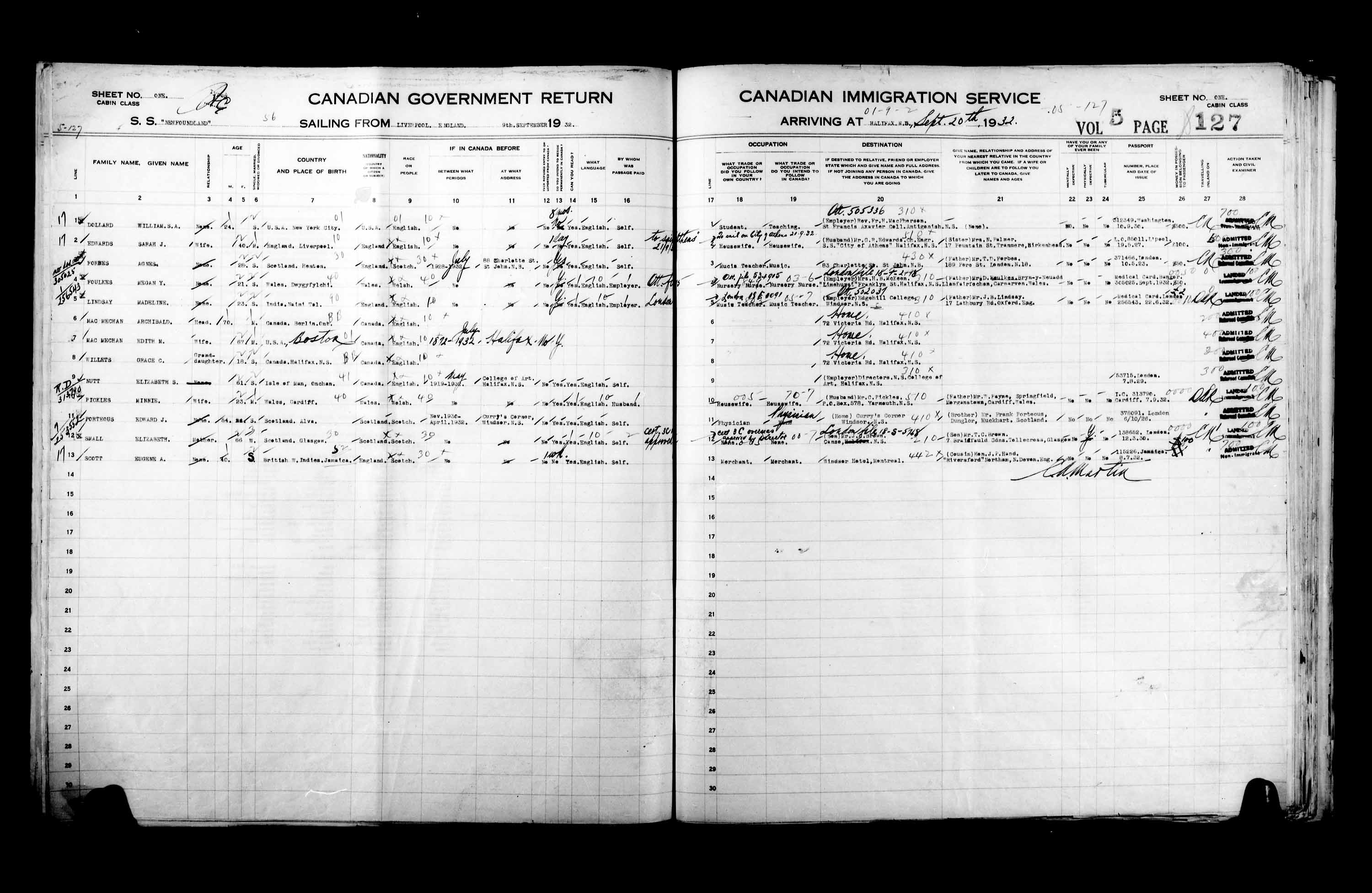 Title: Passenger Lists: Halifax (1925-1935) - Mikan Number: 134853 - Microform: t-14831