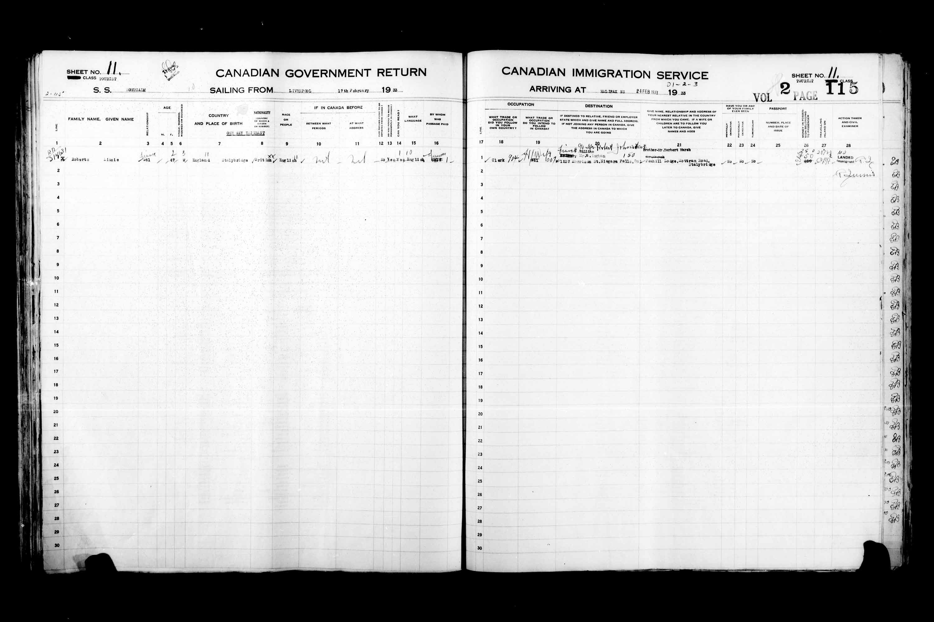 Title: Passenger Lists: Halifax (1925-1935) - Mikan Number: 134853 - Microform: t-14832