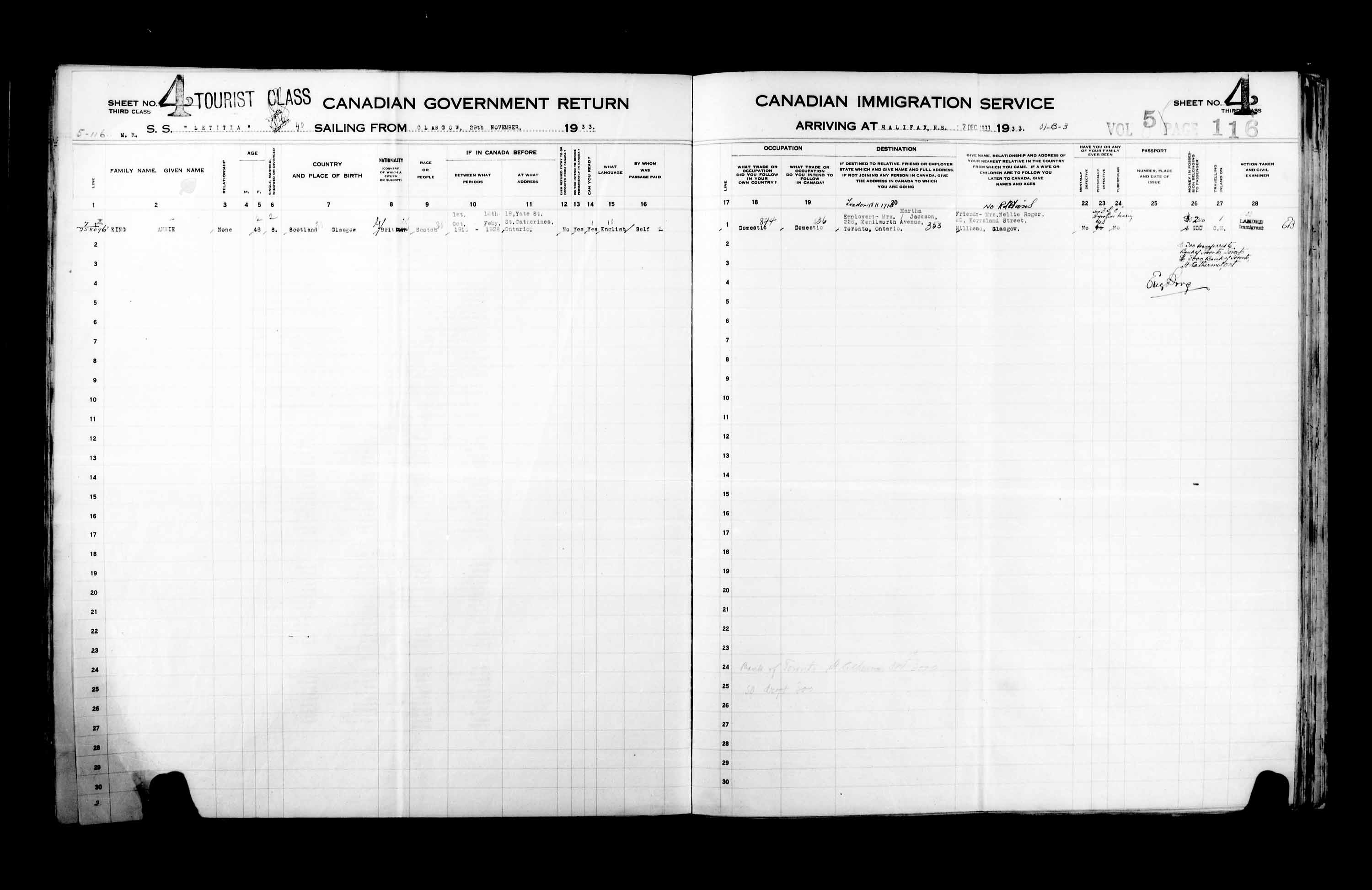 Title: Passenger Lists: Halifax (1925-1935) - Mikan Number: 134853 - Microform: t-14833