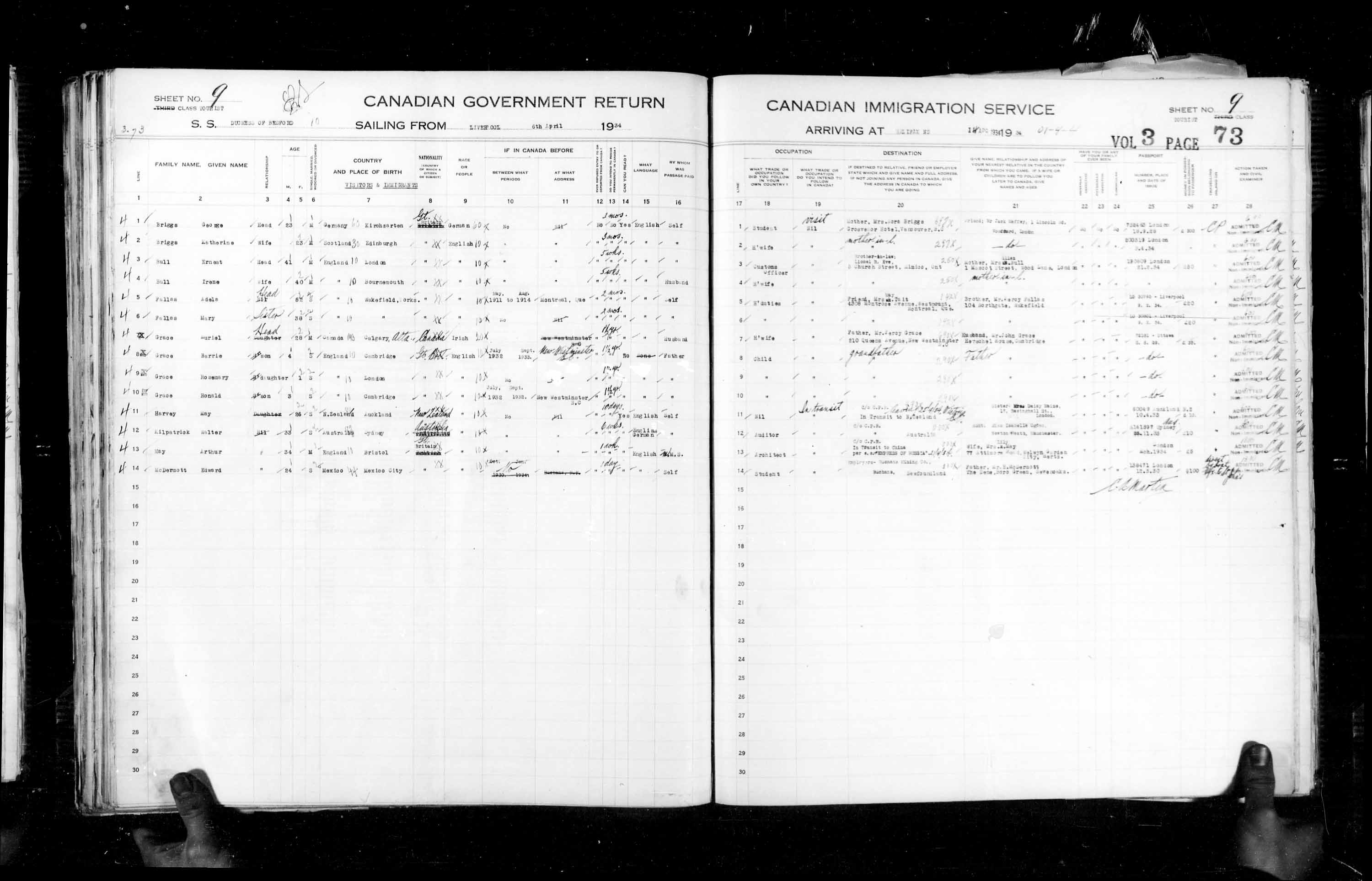 Title: Passenger Lists: Halifax (1925-1935) - Mikan Number: 134853 - Microform: t-14834