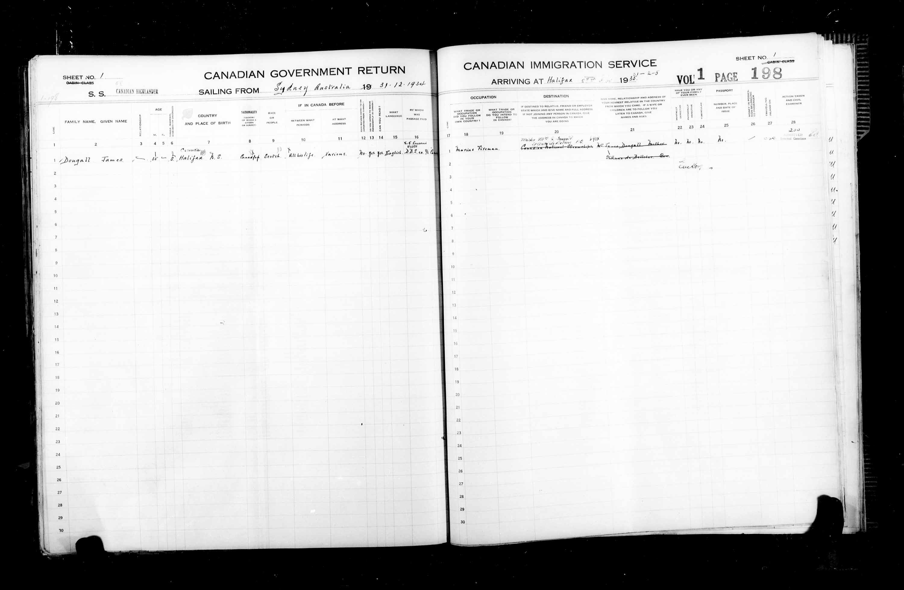 Title: Passenger Lists: Halifax (1925-1935) - Mikan Number: 134853 - Microform: t-14835
