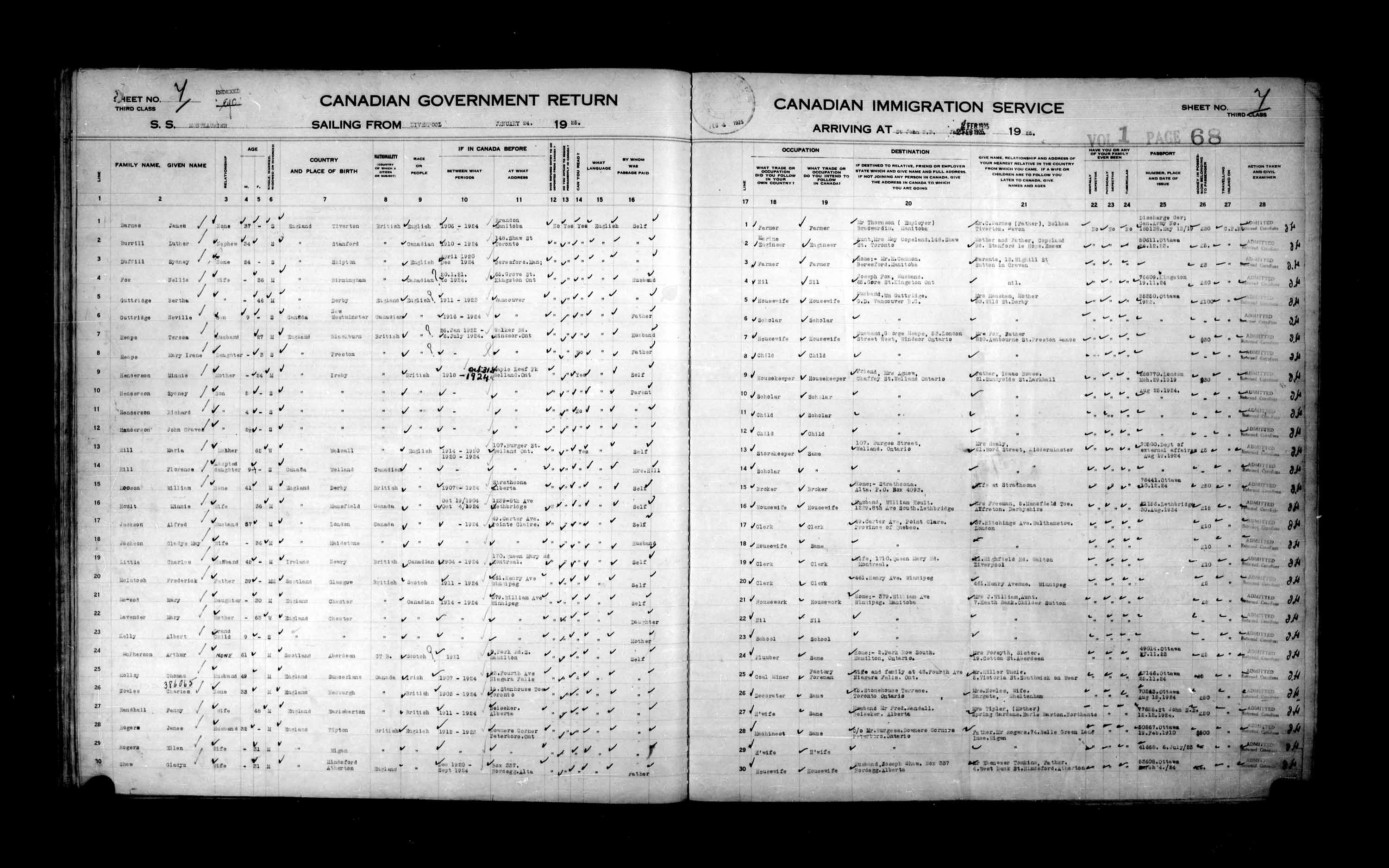 Title: Passenger Lists: Saint John (1925-1935) - Mikan Number: 134836 - Microform: t-14845