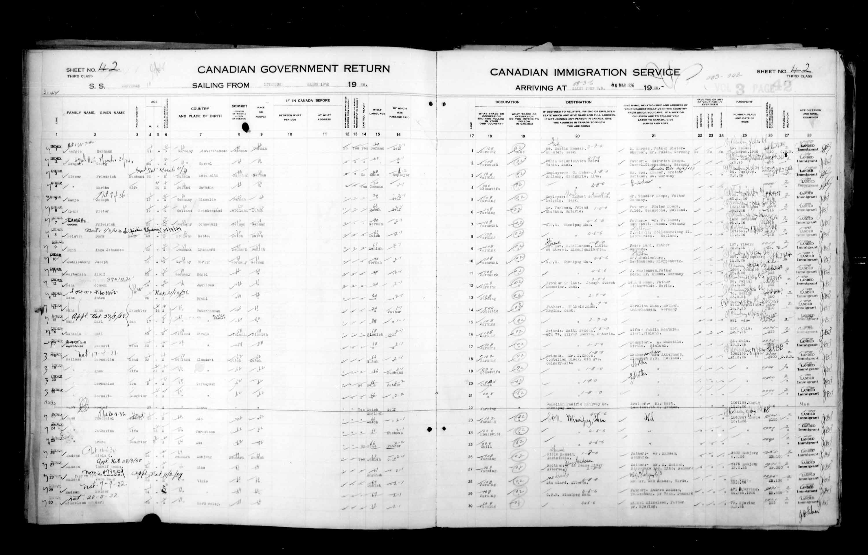 Title: Passenger Lists: Saint John (1925-1935) - Mikan Number: 134836 - Microform: t-14847