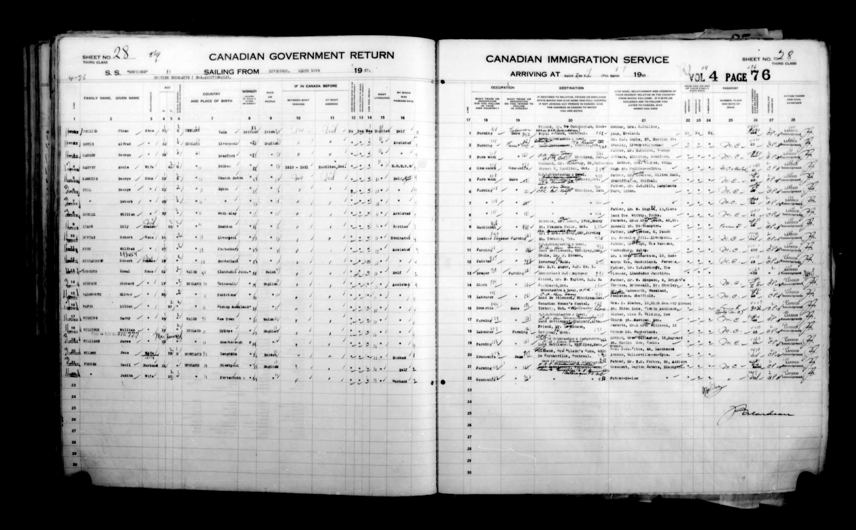 Title: Passenger Lists: Saint John (1925-1935) - Mikan Number: 134836 - Microform: t-14849