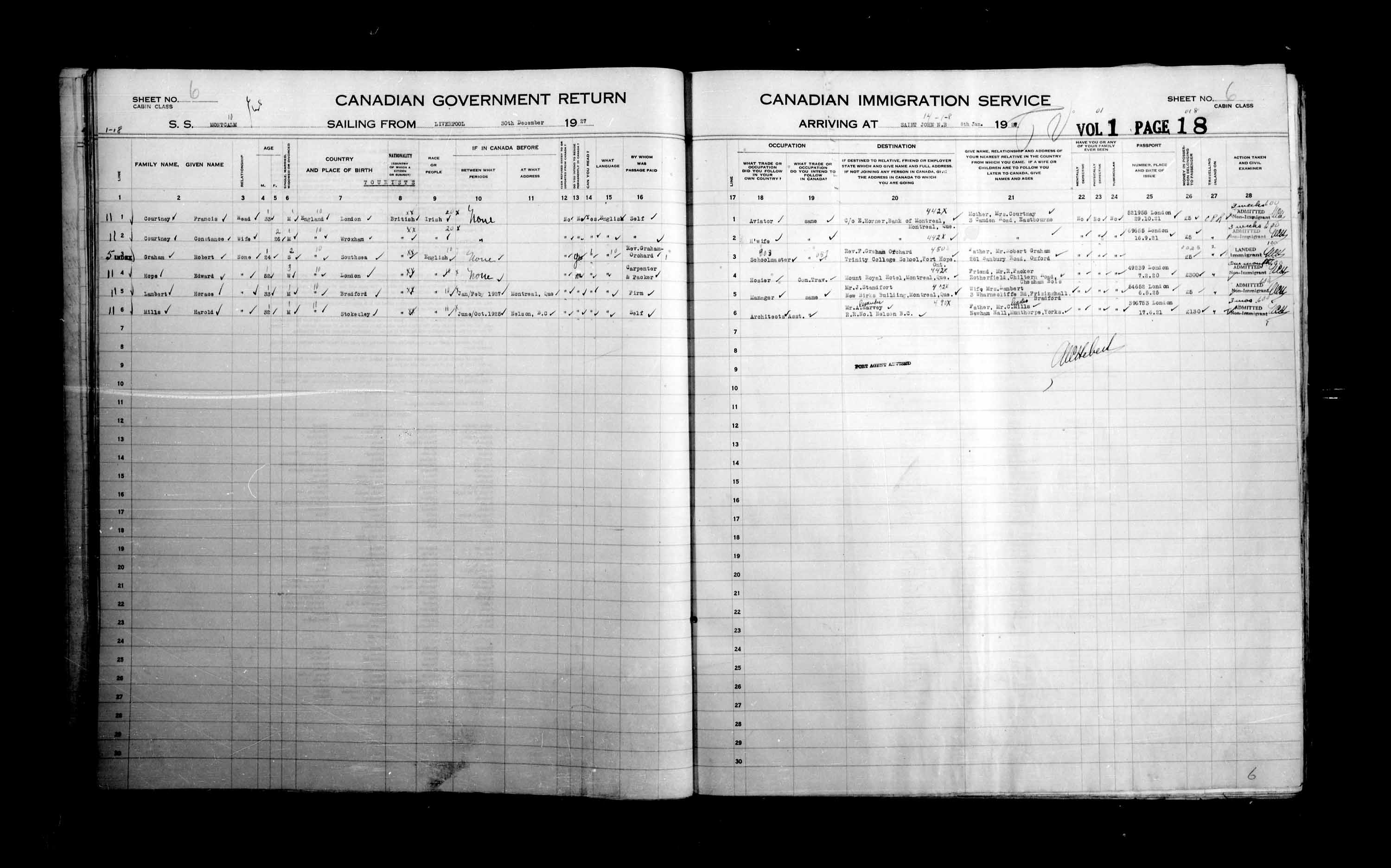 Title: Passenger Lists: Saint John (1925-1935) - Mikan Number: 134836 - Microform: t-14851