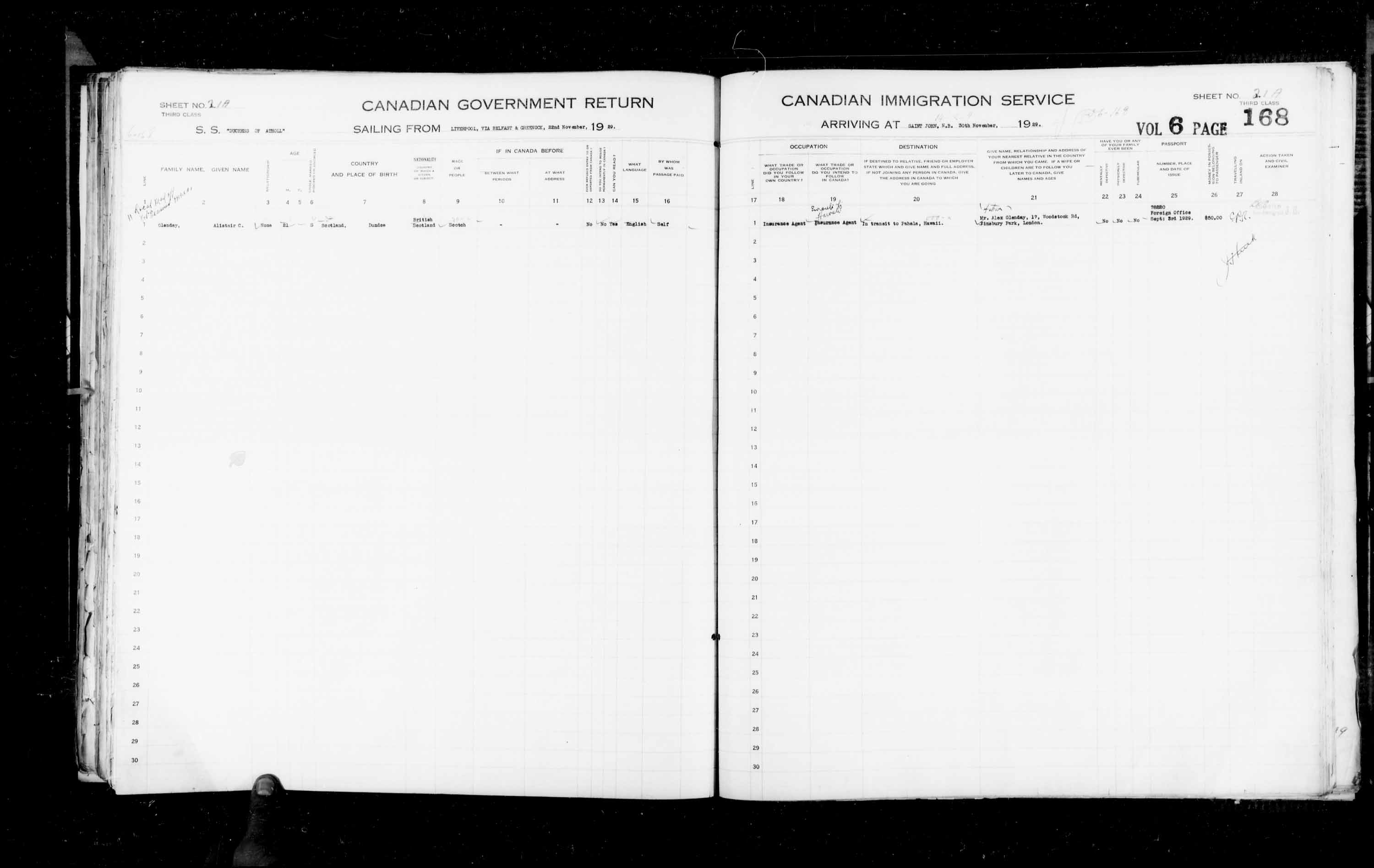 Title: Passenger Lists: Saint John (1925-1935) - Mikan Number: 134836 - Microform: t-14854