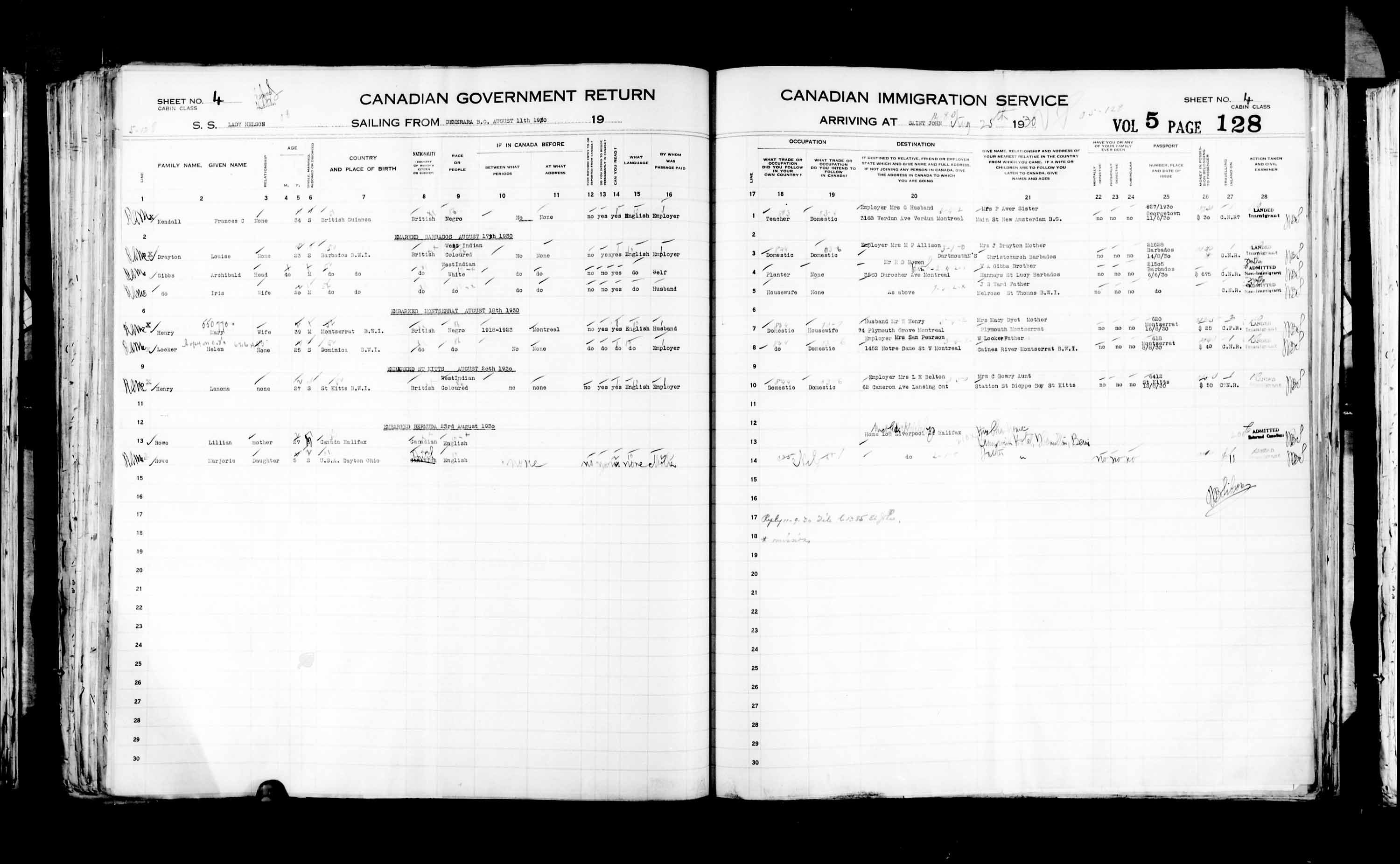 Title: Passenger Lists: Saint John (1925-1935) - Mikan Number: 134836 - Microform: t-14856