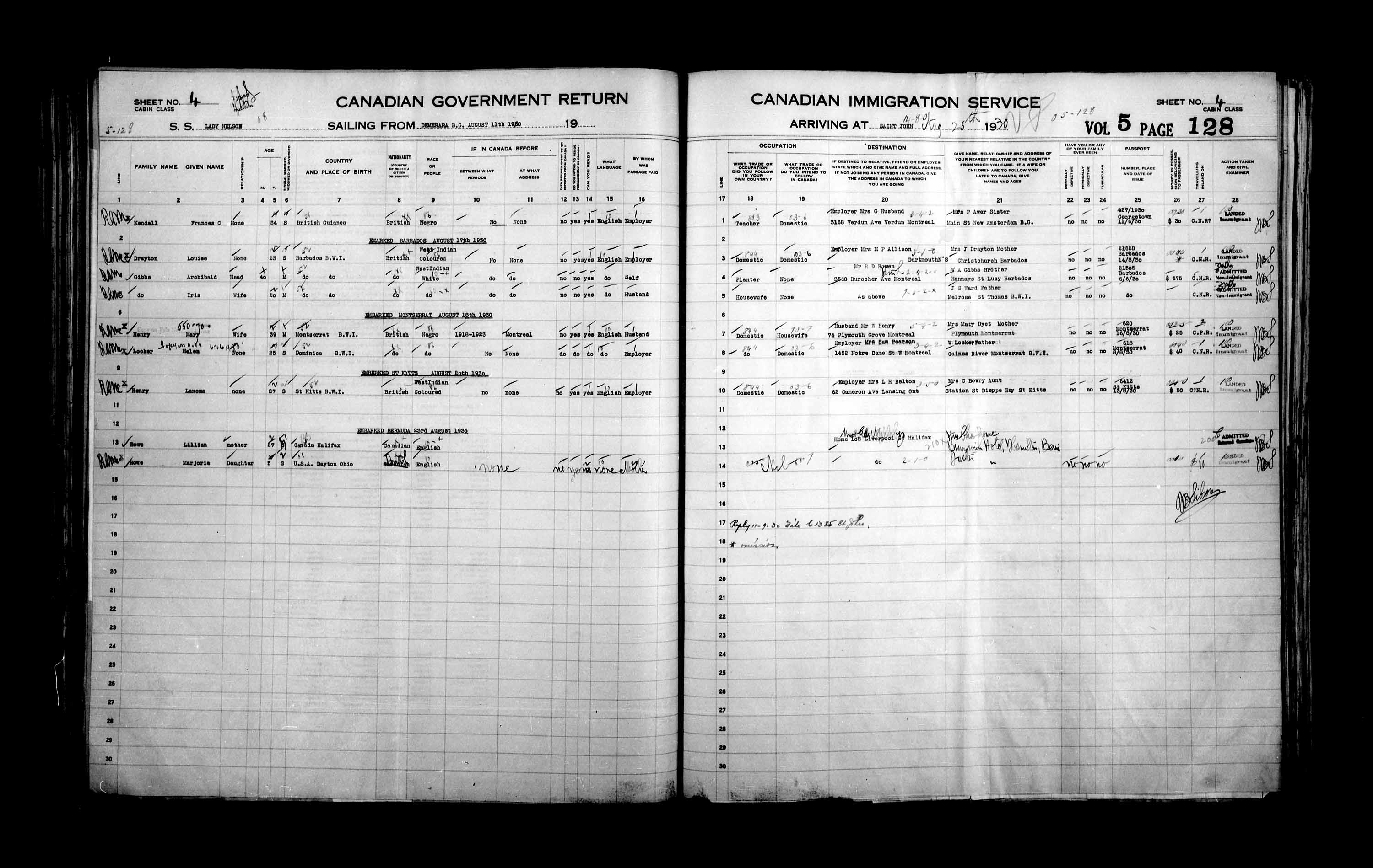 Title: Passenger Lists: Saint John (1925-1935) - Mikan Number: 134836 - Microform: t-14857