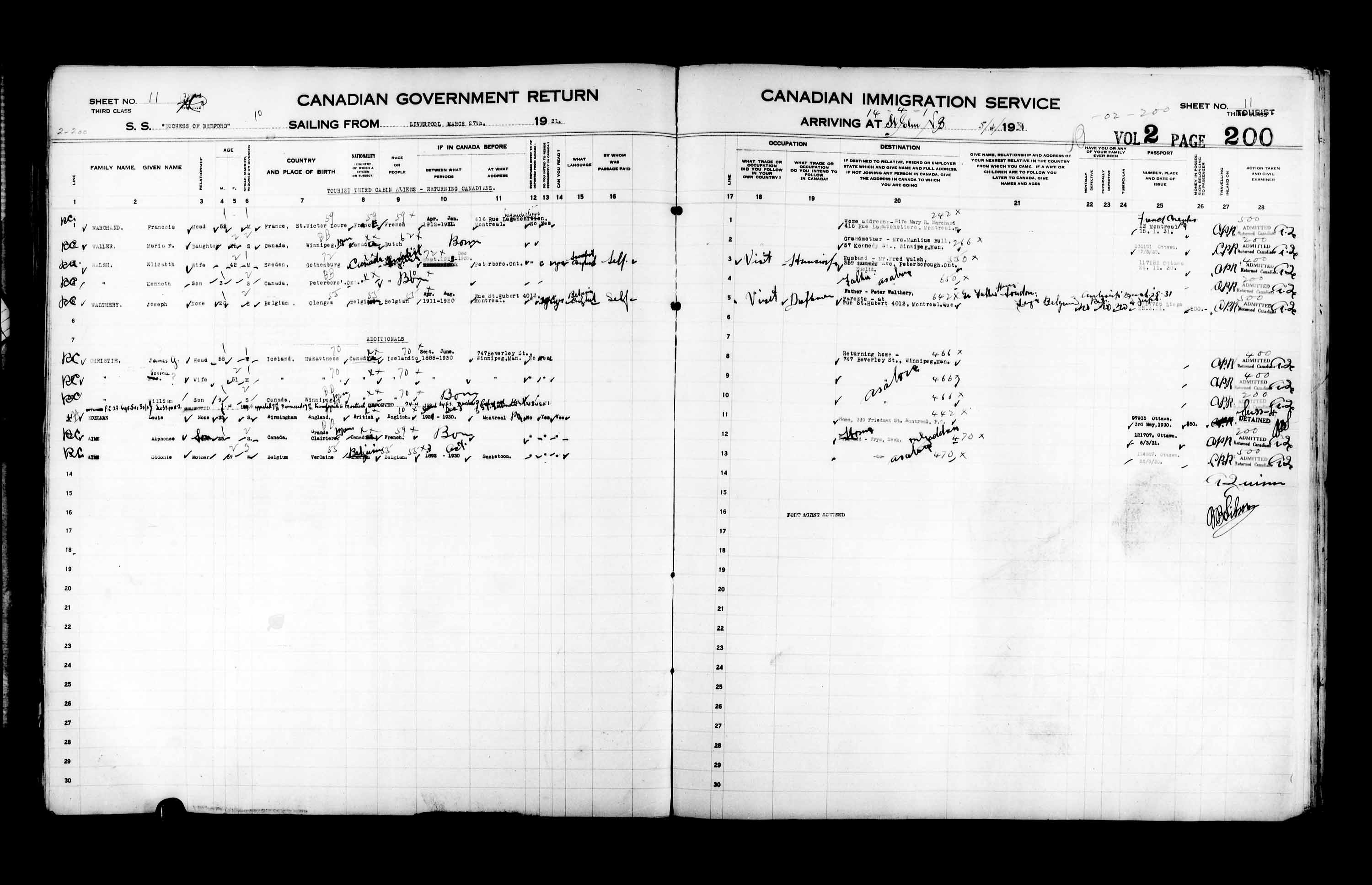 Title: Passenger Lists: Saint John (1925-1935) - Mikan Number: 134836 - Microform: t-14858