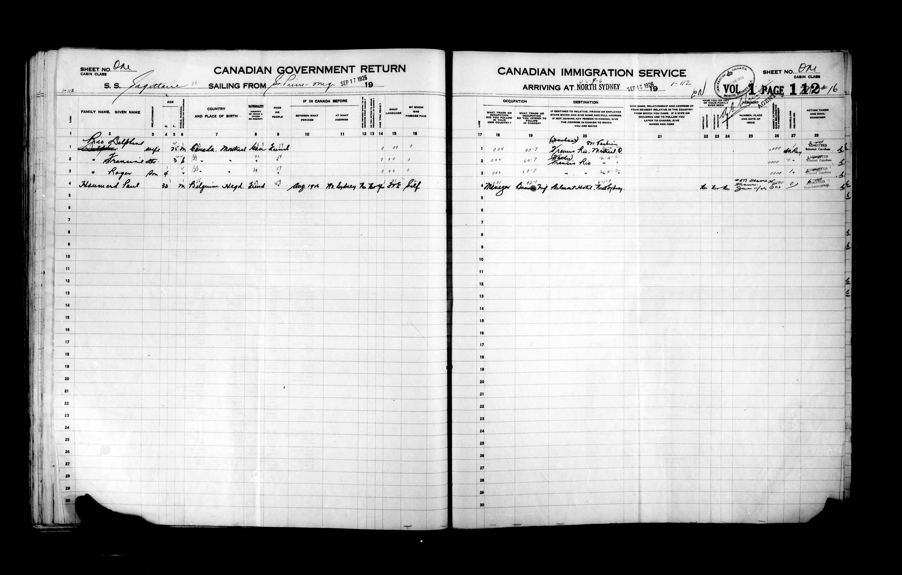 Title: Passenger Lists: North Sydney (1925-1935) - Mikan Number: 161342 - Microform: t-14864