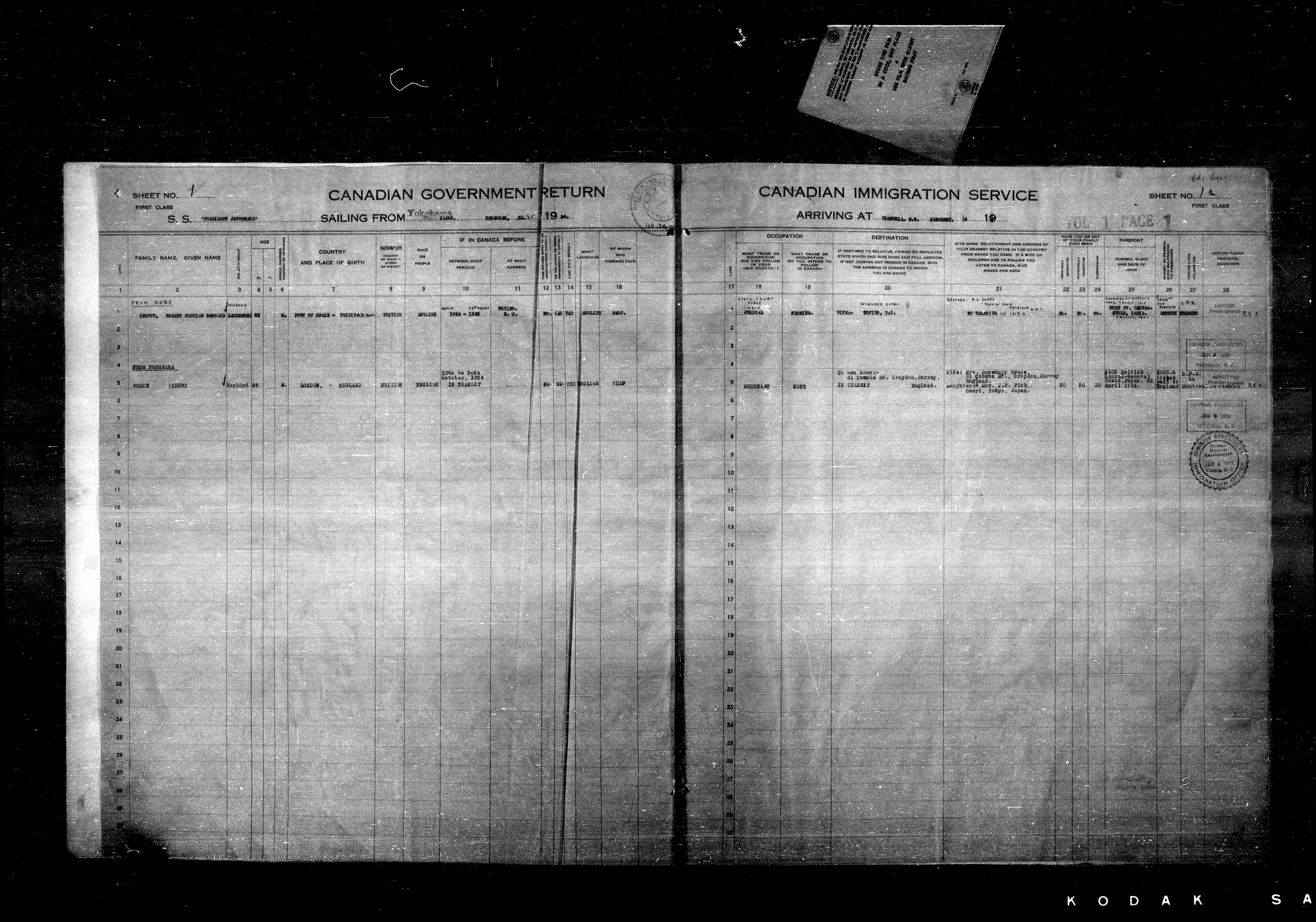Title: Passenger Lists: Vancouver and Victoria (1925-1935) - Mikan Number: 161347 - Microform: t-14881