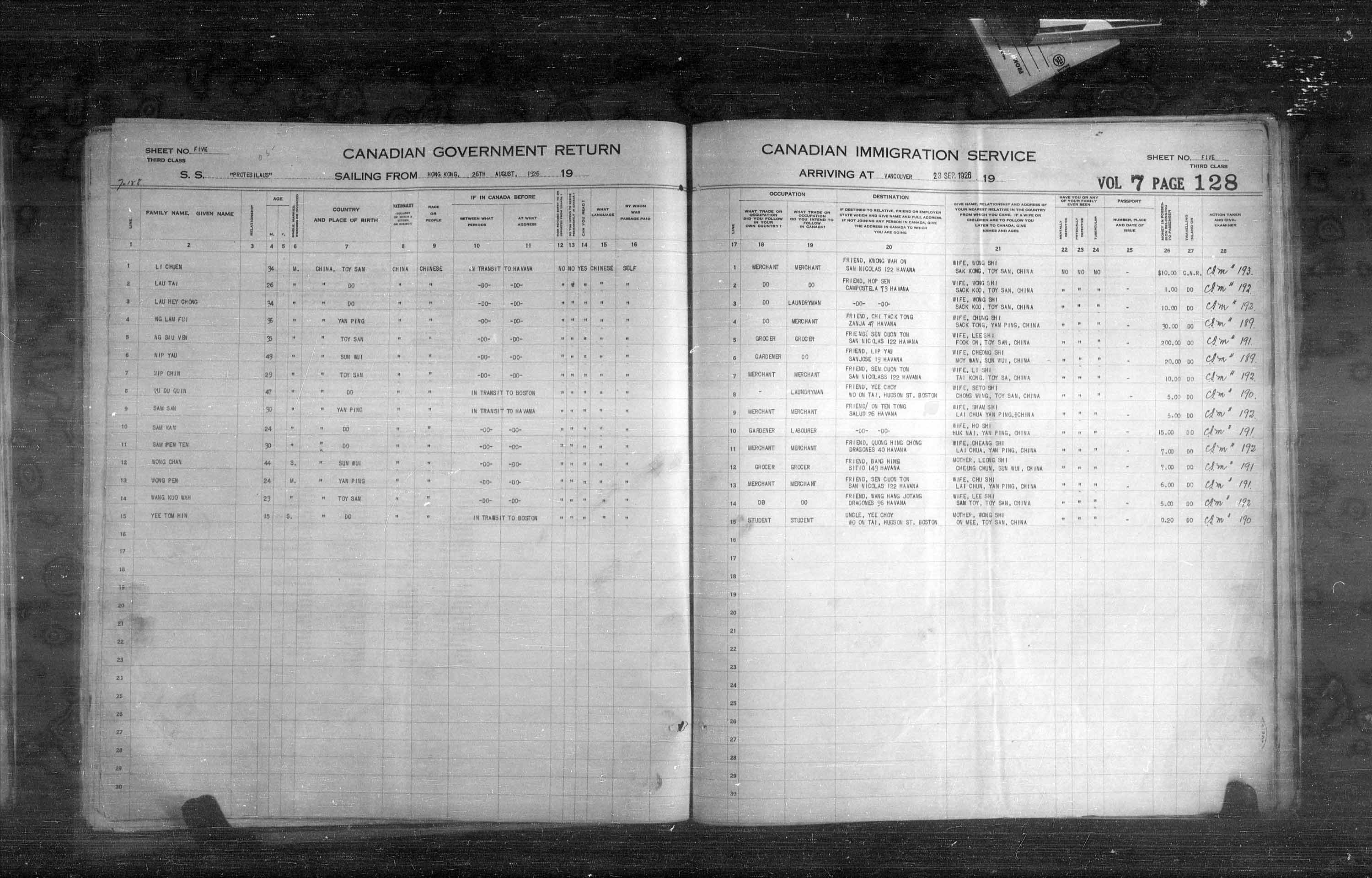 Title: Passenger Lists: Vancouver and Victoria (1925-1935) - Mikan Number: 161347 - Microform: t-14886