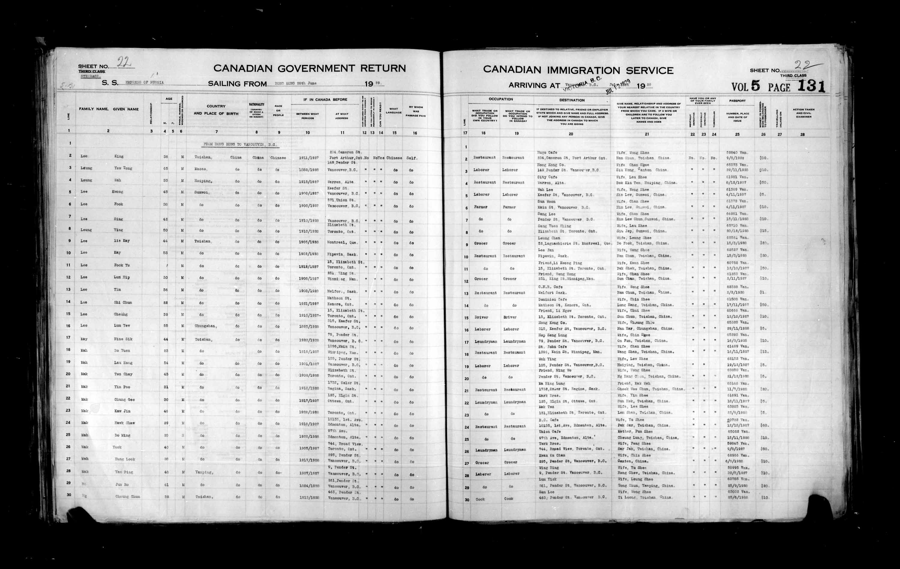 Title: Passenger Lists: Vancouver and Victoria (1925-1935) - Mikan Number: 161347 - Microform: t-14894
