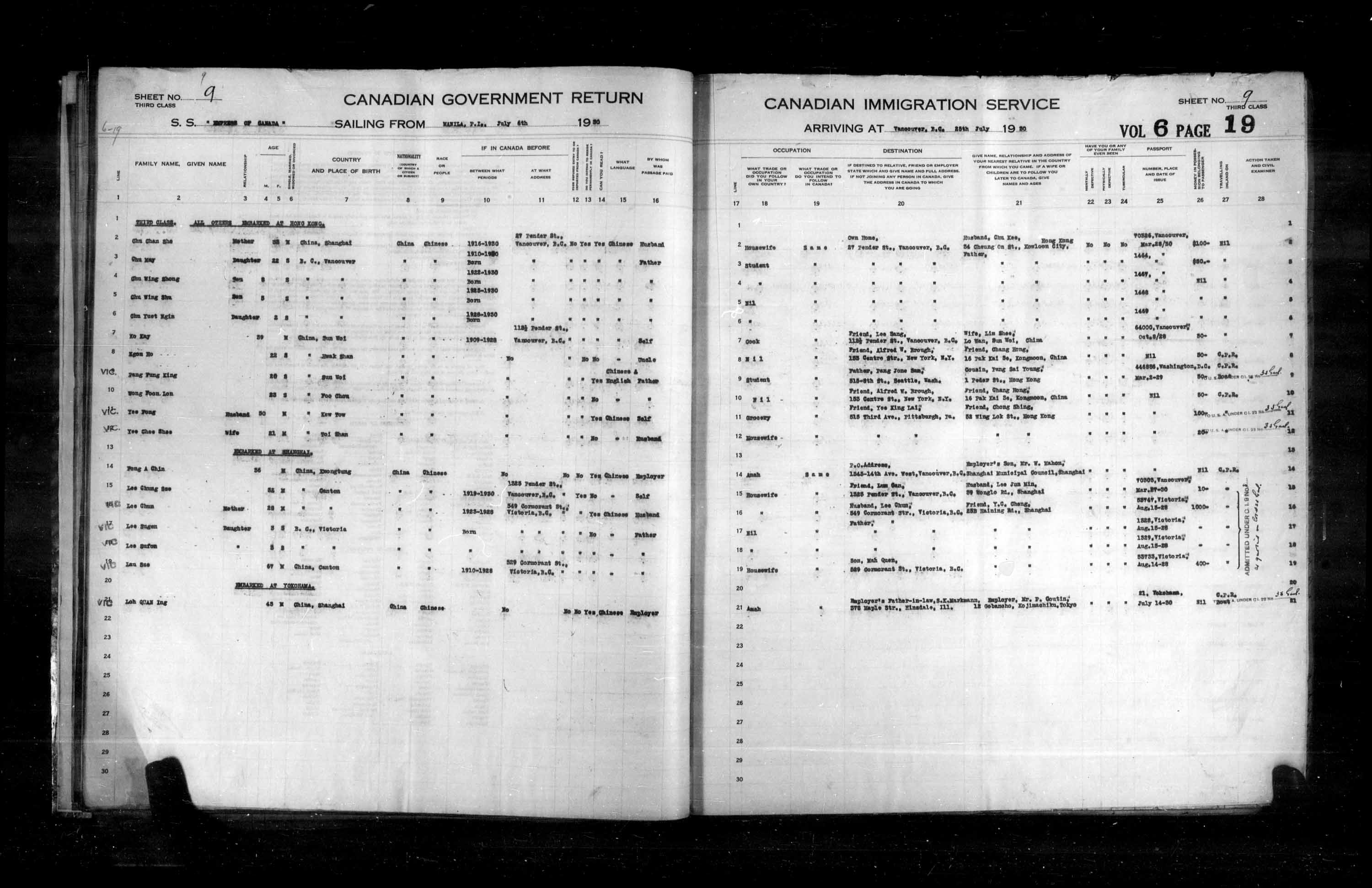 Title: Passenger Lists: Vancouver and Victoria (1925-1935) - Mikan Number: 161347 - Microform: t-14897