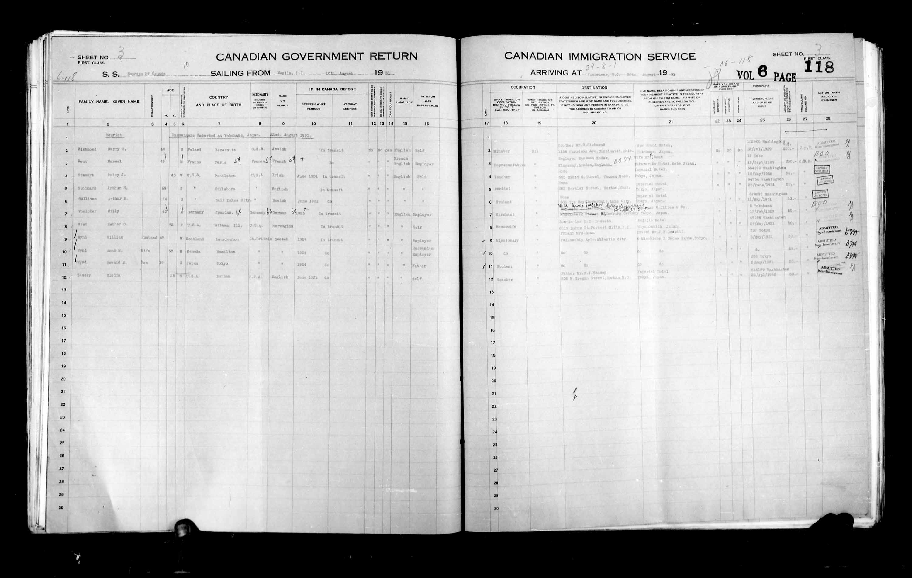 Title: Passenger Lists: Vancouver and Victoria (1925-1935) - Mikan Number: 161347 - Microform: t-14899