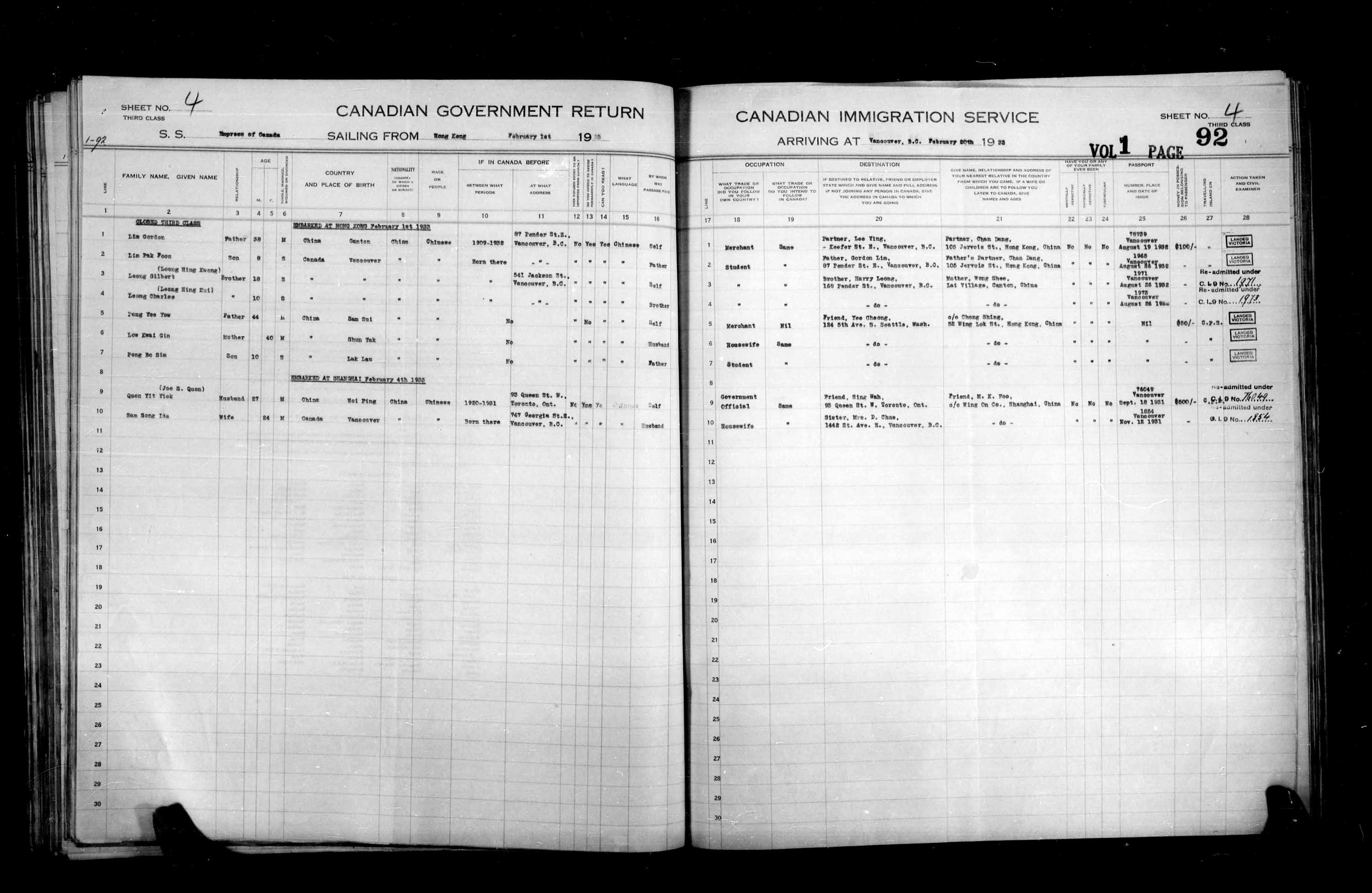 Title: Passenger Lists: Vancouver and Victoria (1925-1935) - Mikan Number: 161347 - Microform: t-14903