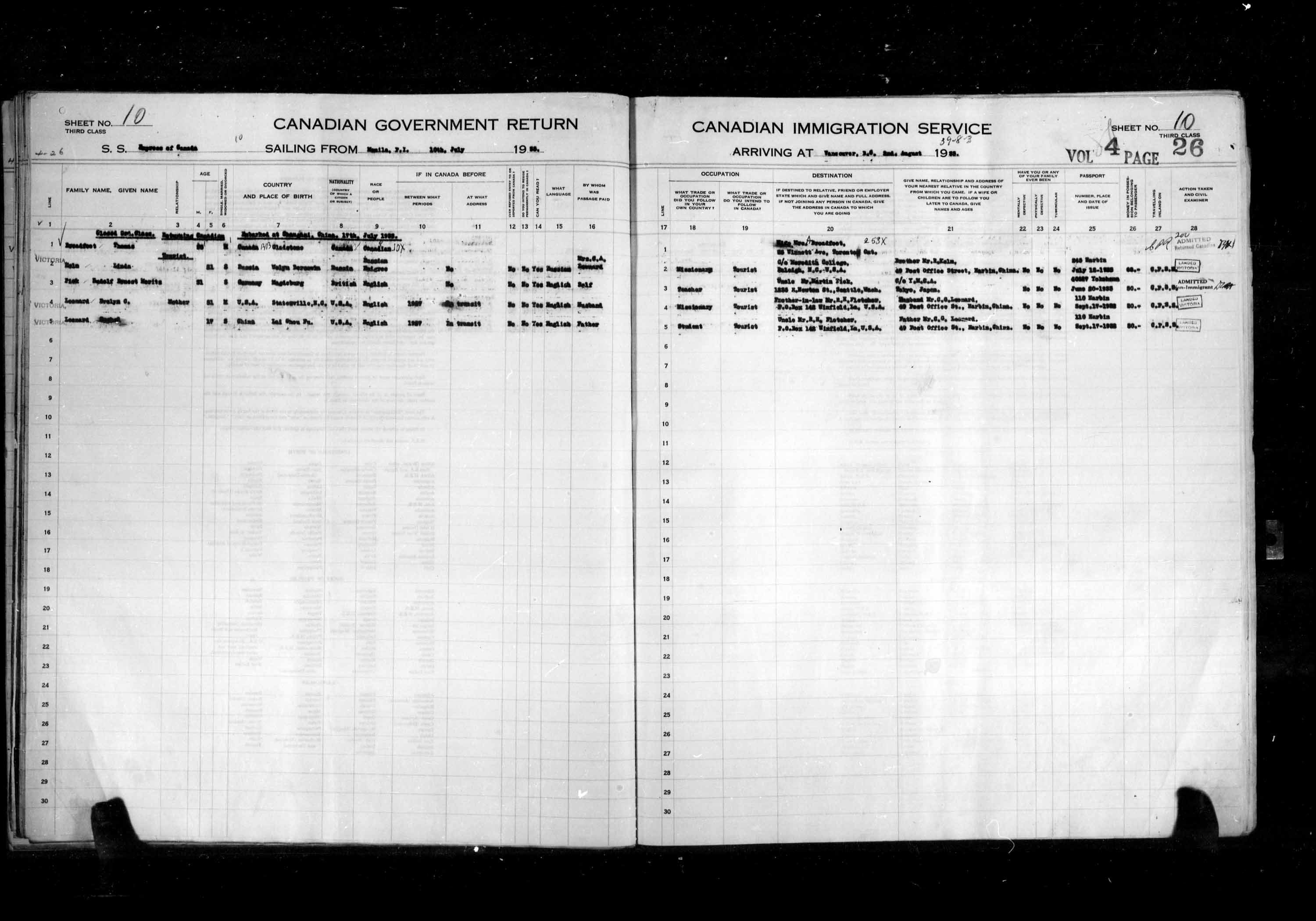 Title: Passenger Lists: Vancouver and Victoria (1925-1935) - Mikan Number: 161347 - Microform: t-14904