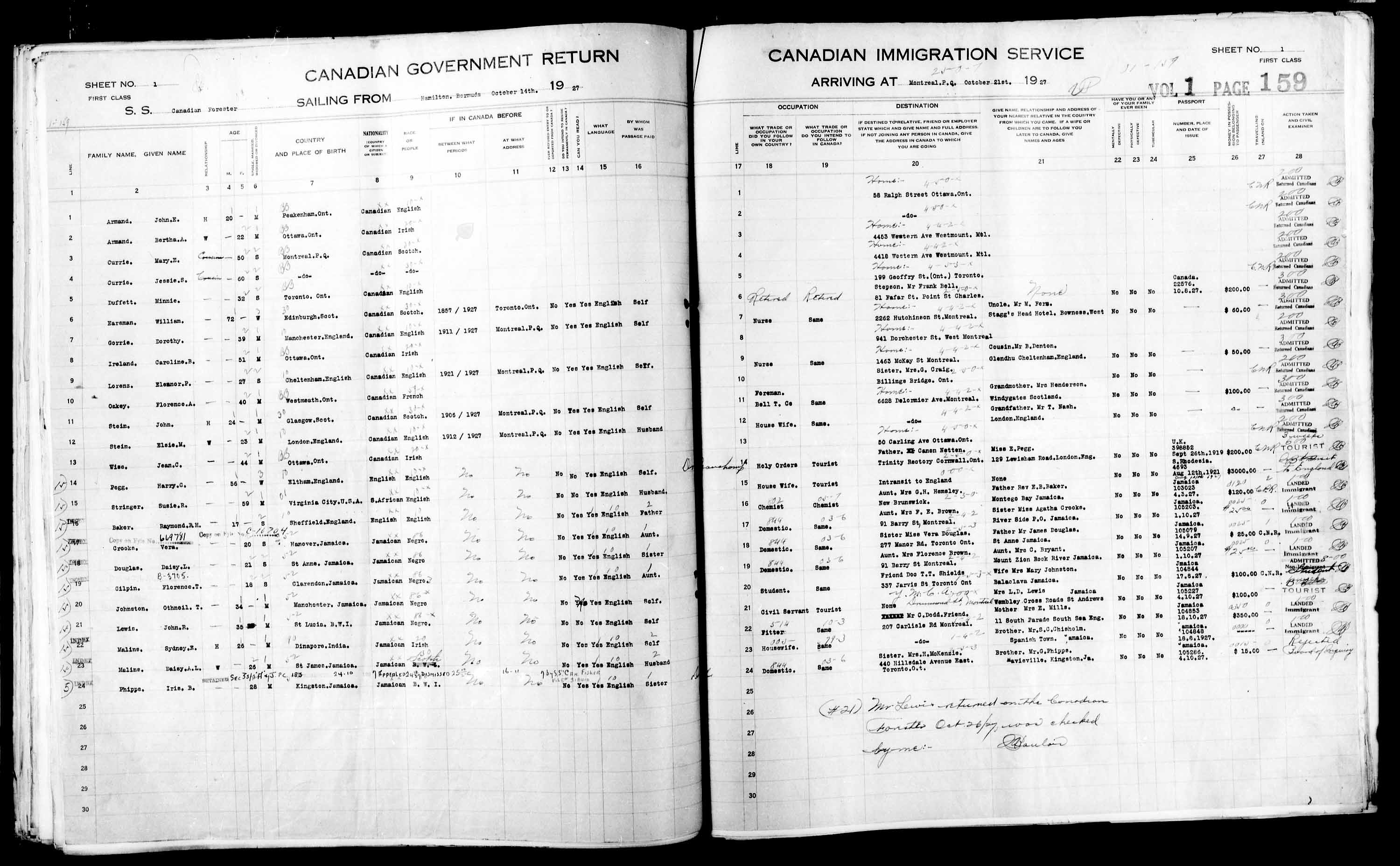 Title: Passenger Lists: Montreal (1925-1935) - Mikan Number: 134839 - Microform: t-14911