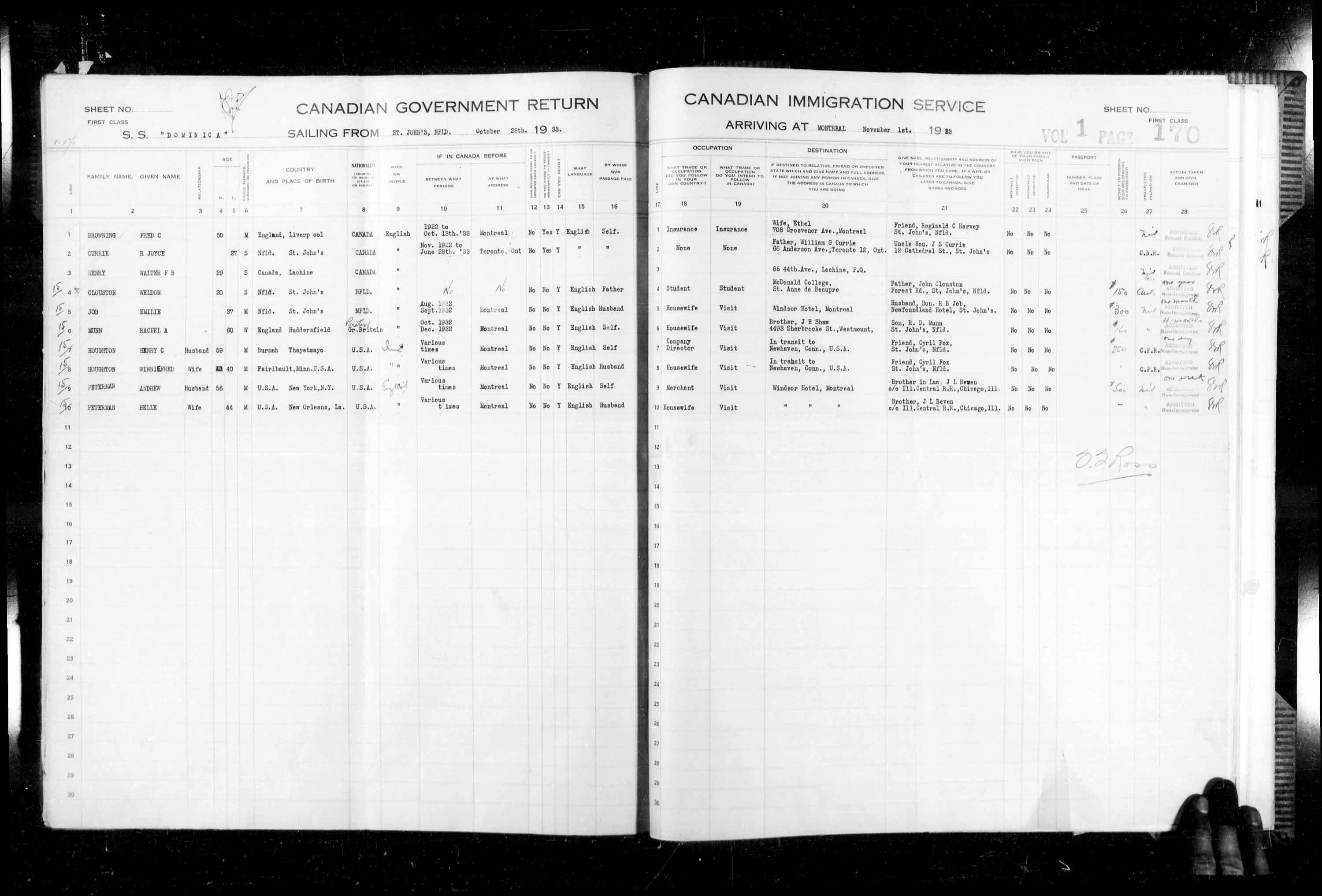 Title: Passenger Lists: Montreal (1925-1935) - Mikan Number: 134839 - Microform: t-14913