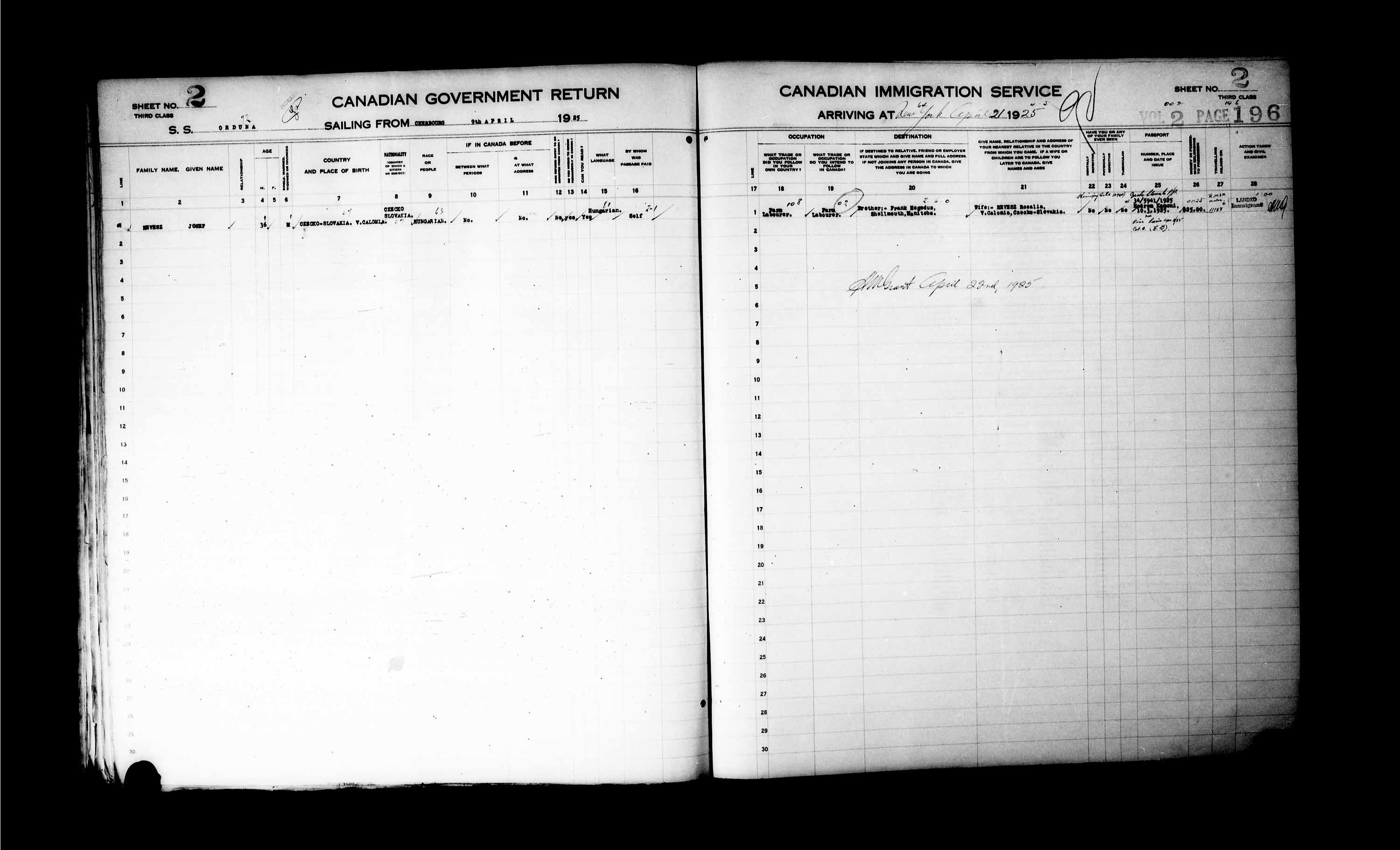 Title: Passenger Lists: New York (1925-1935) - Mikan Number: 161343 - Microform: t-14924
