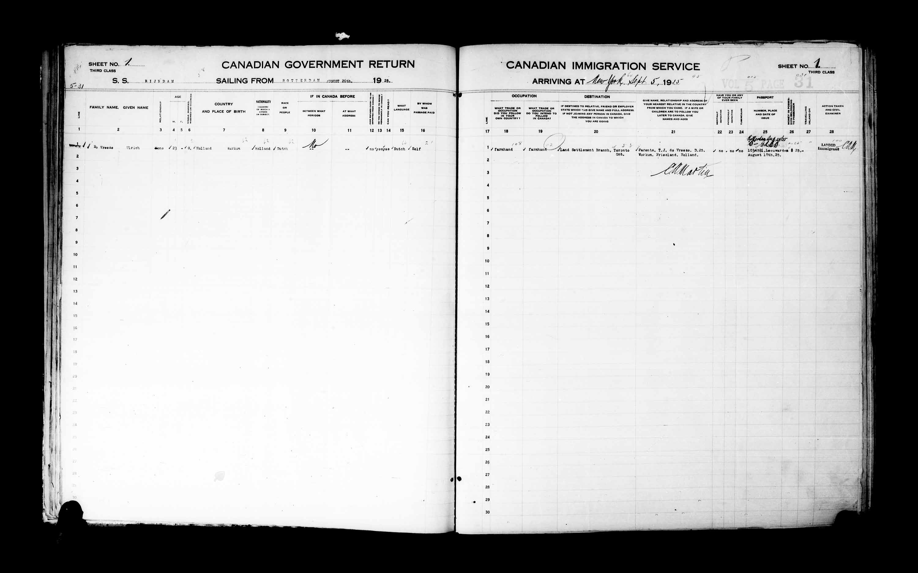Title: Passenger Lists: New York (1925-1935) - Mikan Number: 161343 - Microform: t-14925