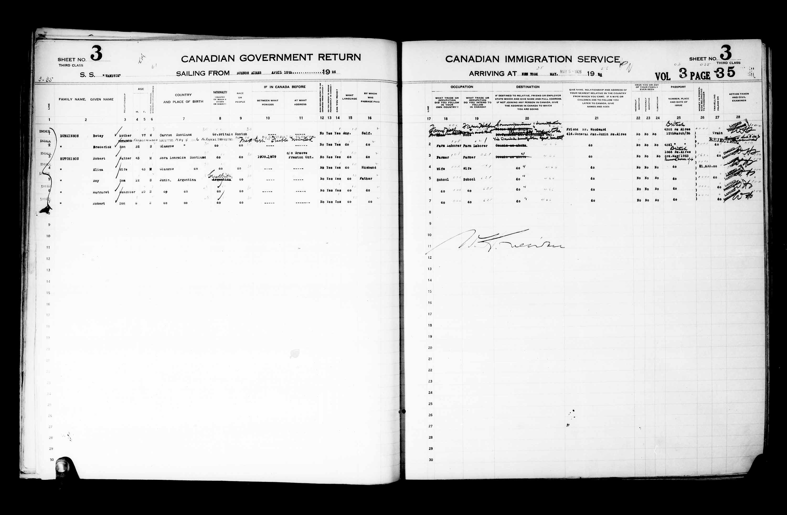 Title: Passenger Lists: New York (1925-1935) - Mikan Number: 161343 - Microform: t-14927