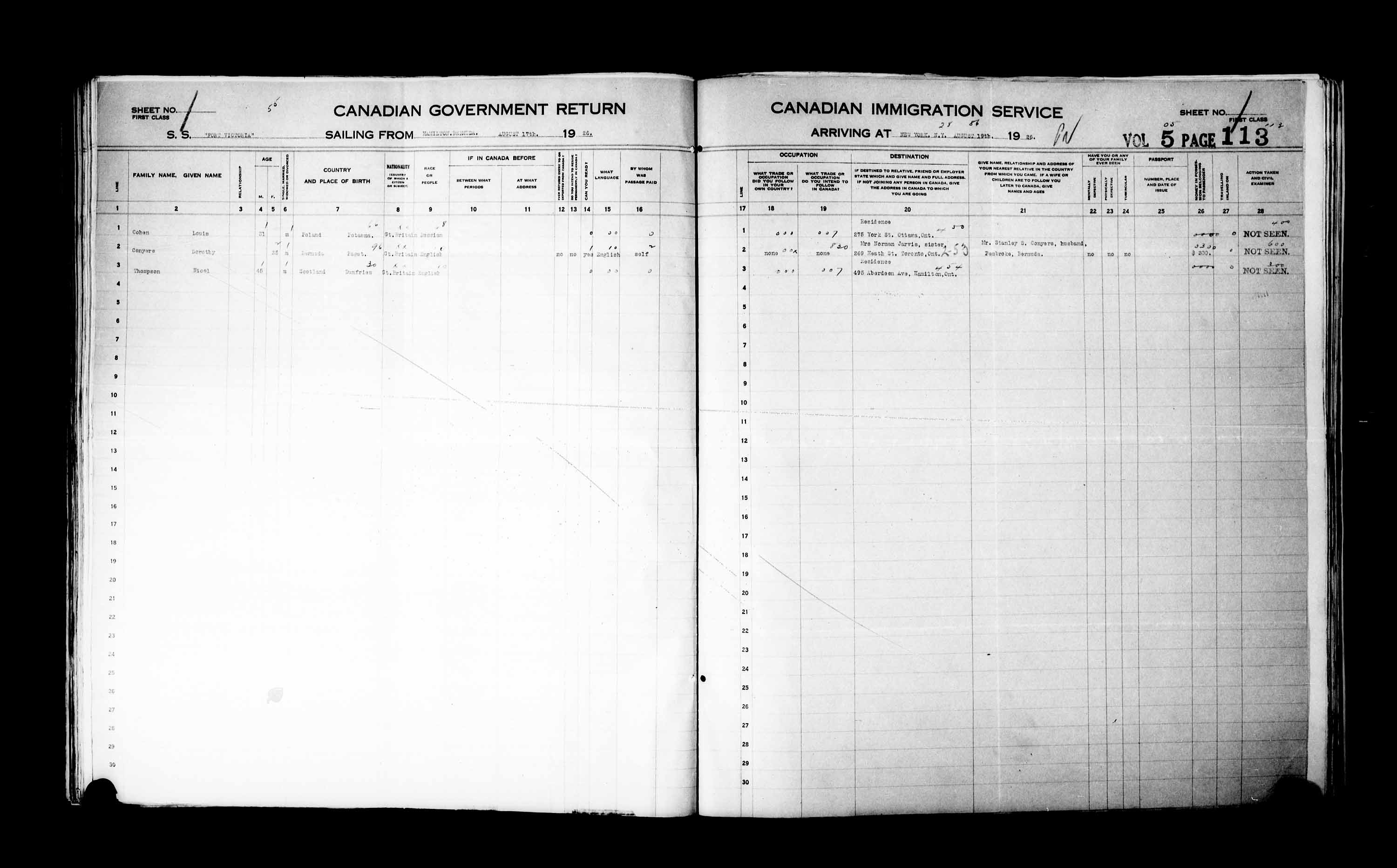Title: Passenger Lists: New York (1925-1935) - Mikan Number: 161343 - Microform: t-14928