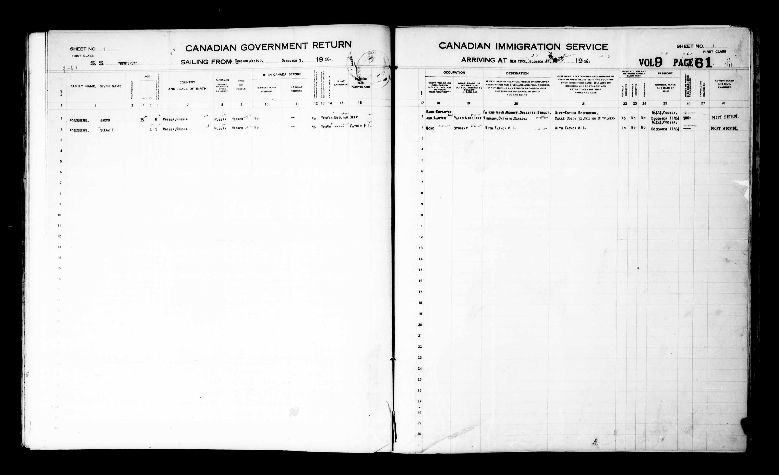 Title: Passenger Lists: New York (1925-1935) - Mikan Number: 161343 - Microform: t-14929