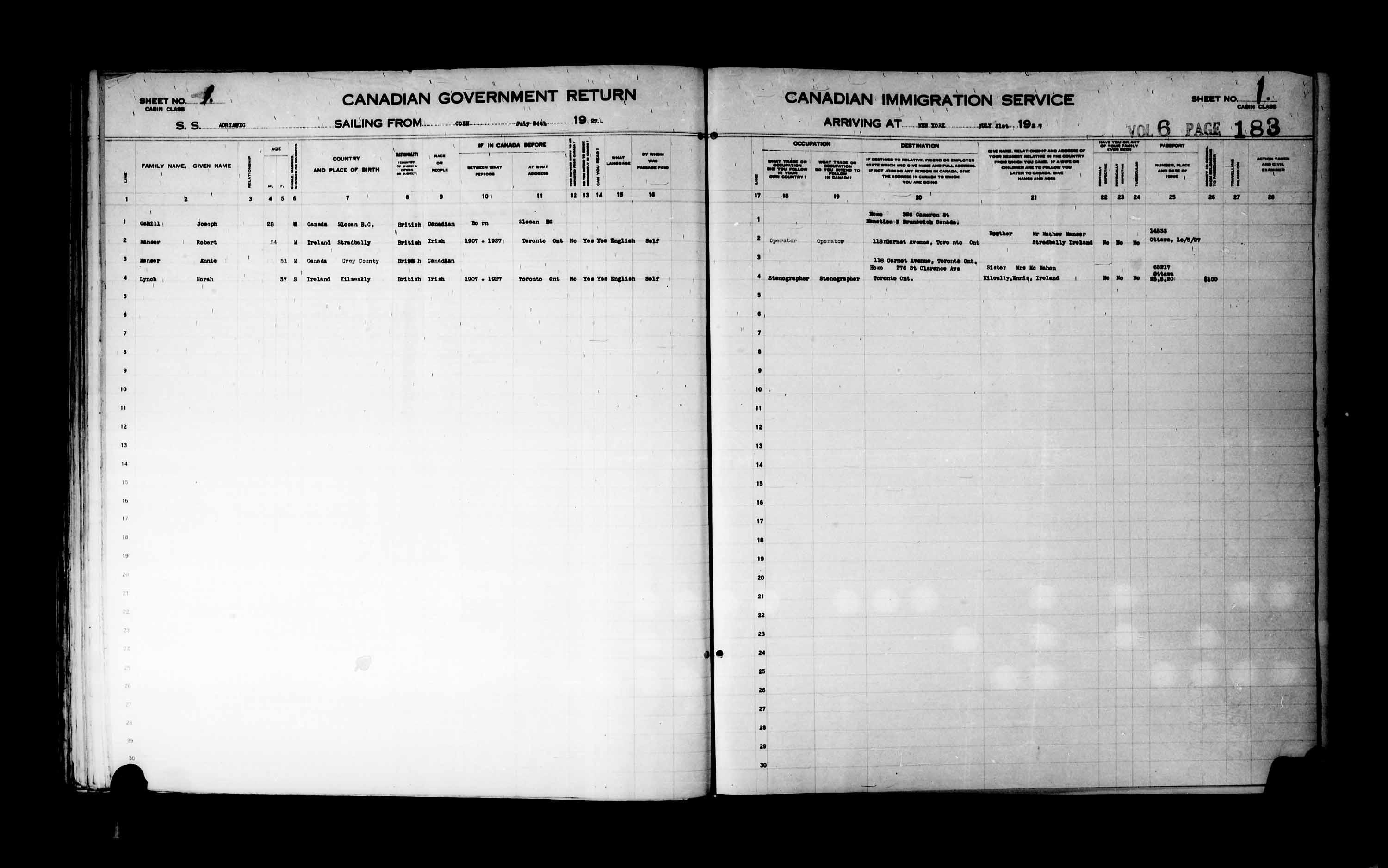 Title: Passenger Lists: New York (1925-1935) - Mikan Number: 161343 - Microform: t-14930