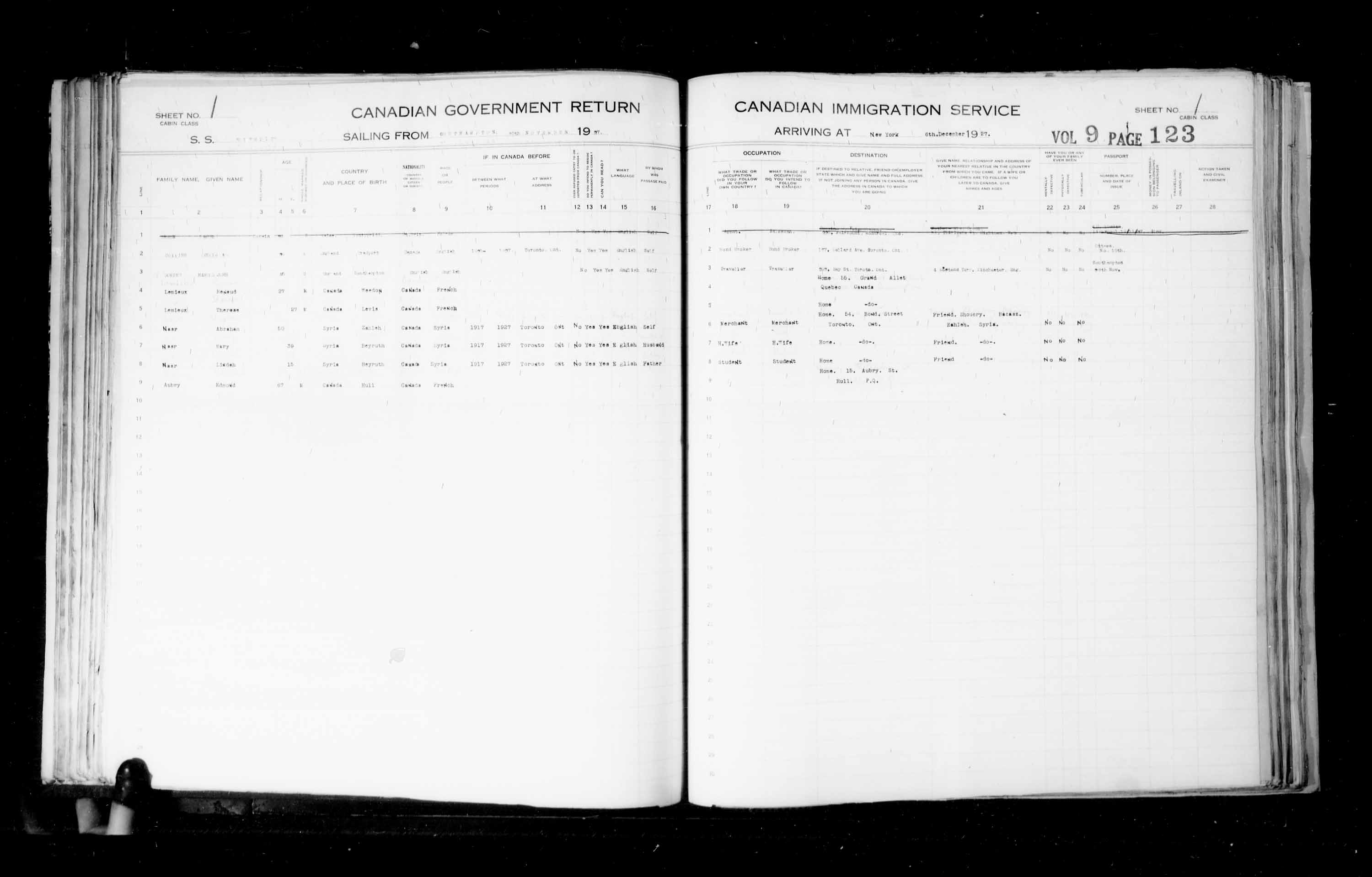Title: Passenger Lists: New York (1925-1935) - Mikan Number: 161343 - Microform: t-14931