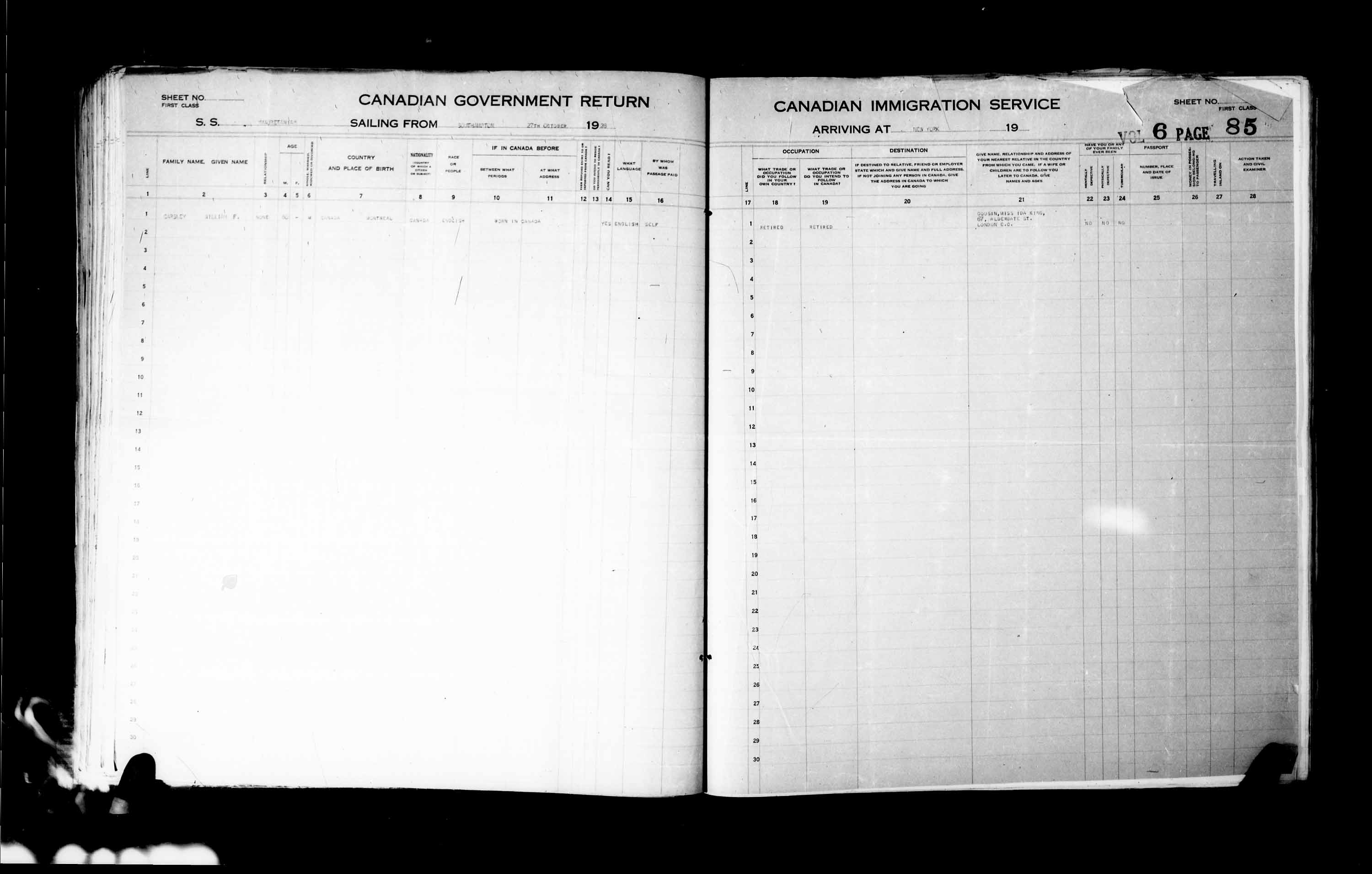 Title: Passenger Lists: New York (1925-1935) - Mikan Number: 161343 - Microform: t-14933