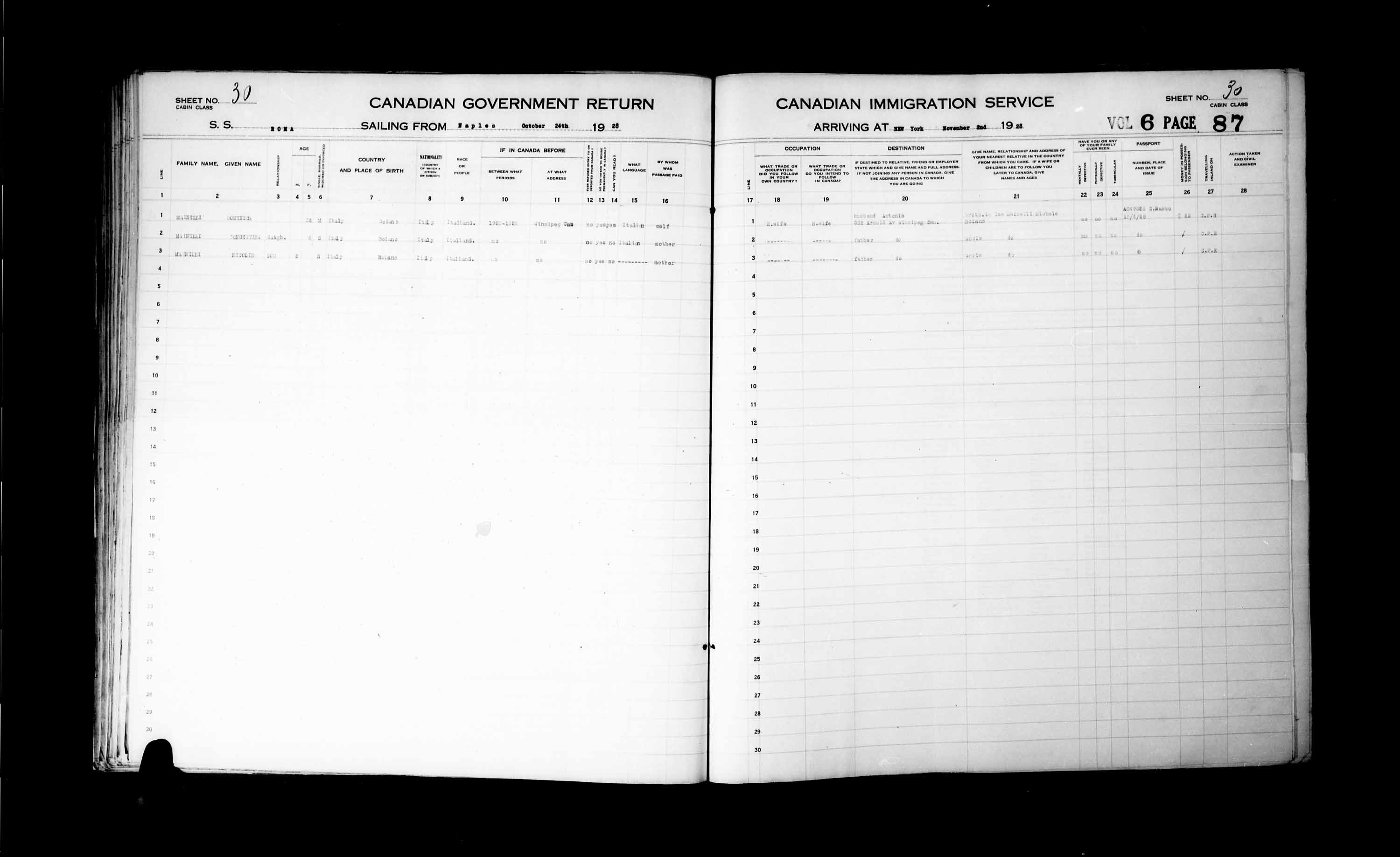 Title: Passenger Lists: New York (1925-1935) - Mikan Number: 161343 - Microform: t-14934