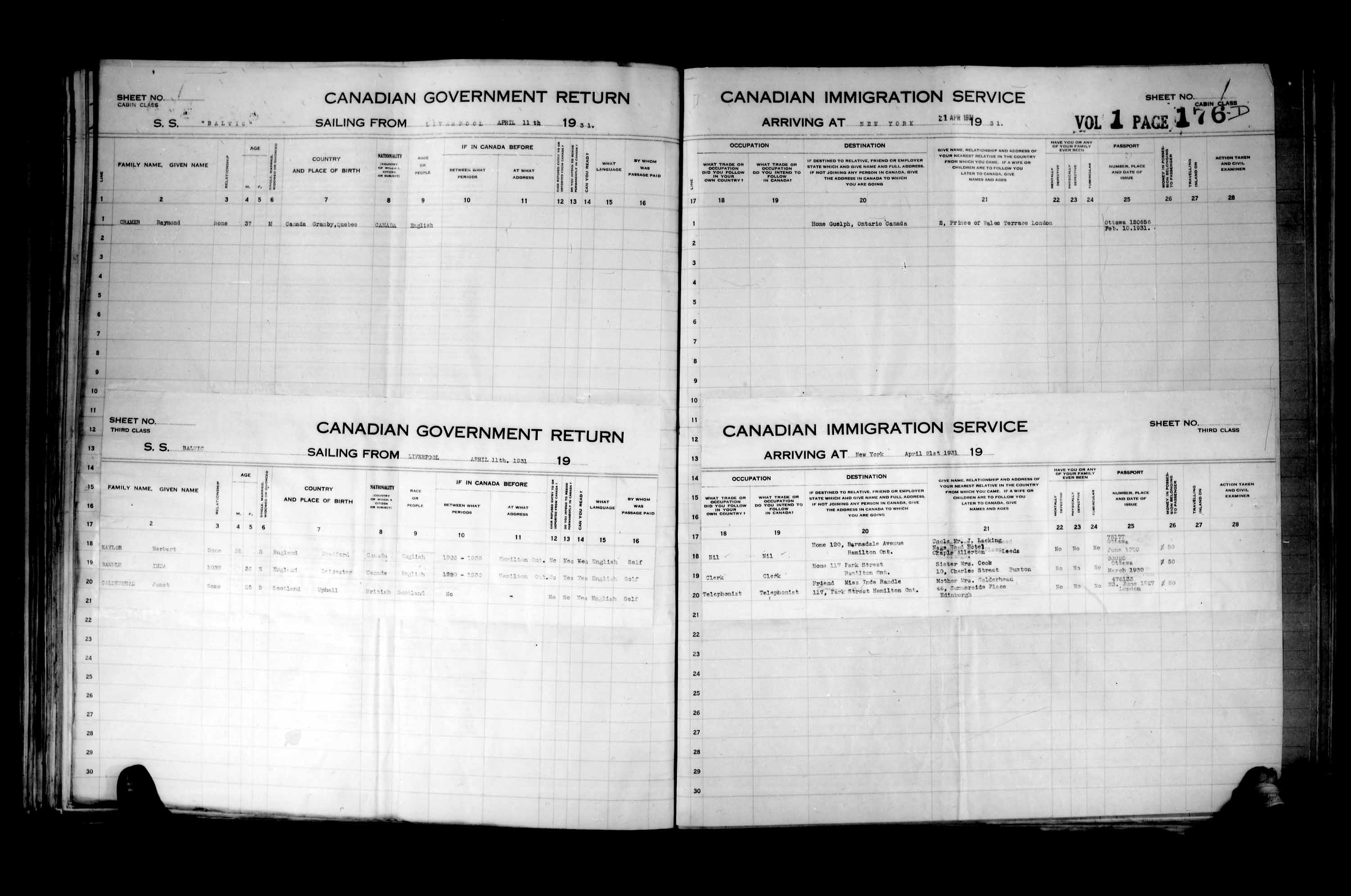 Title: Passenger Lists: New York (1925-1935) - Mikan Number: 161343 - Microform: t-14936