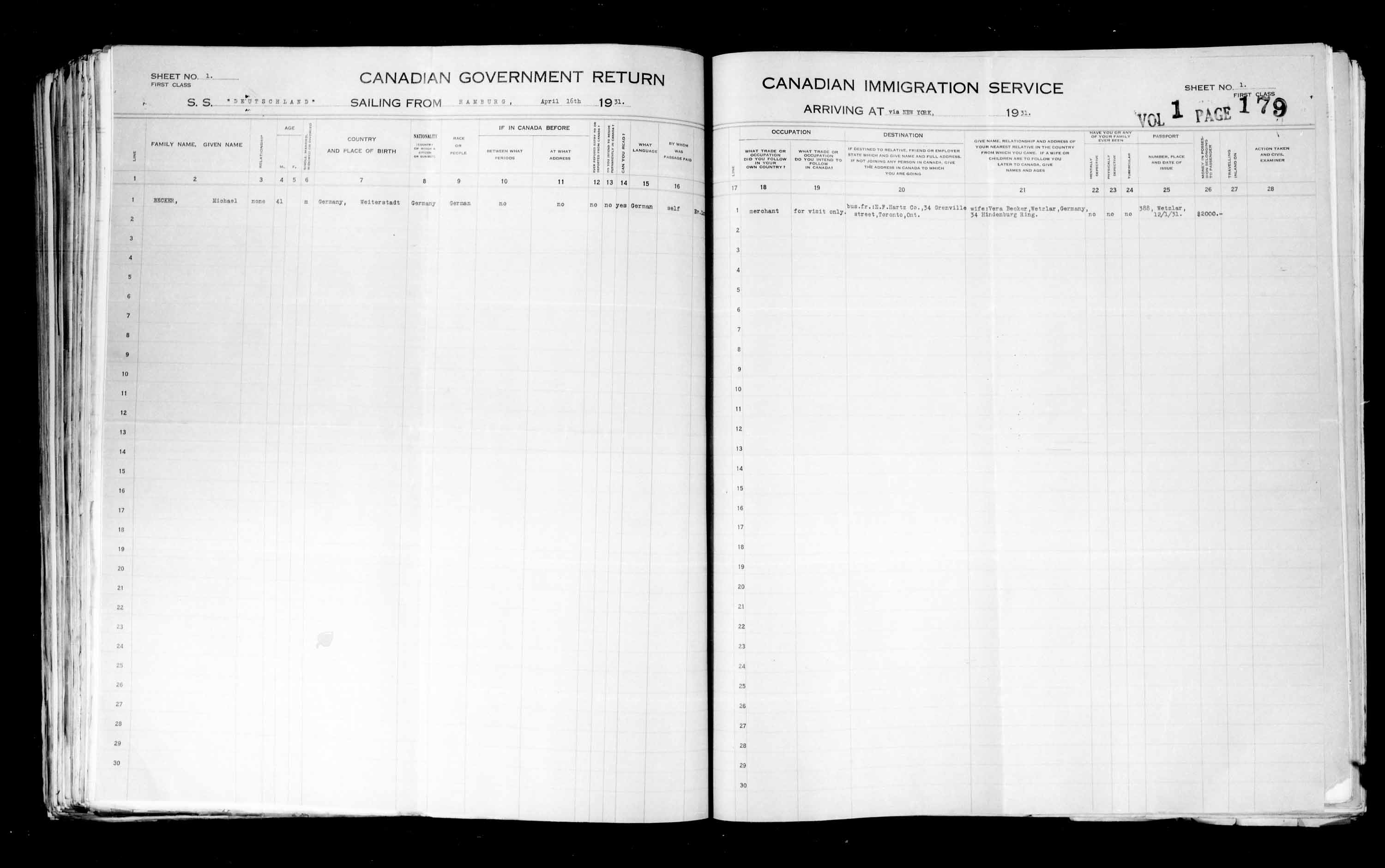 Title: Passenger Lists: New York (1925-1935) - Mikan Number: 161343 - Microform: t-14937