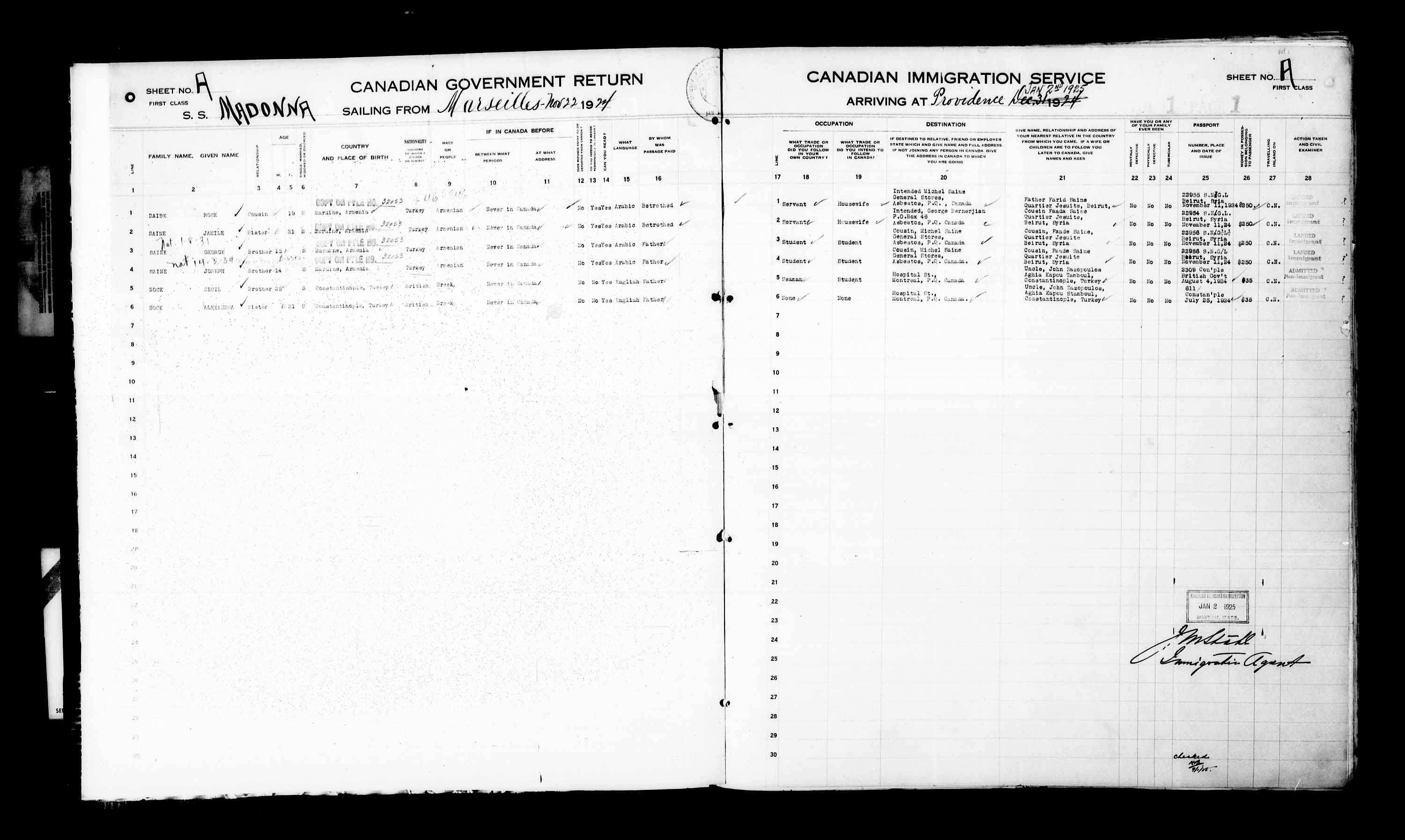 Title: Passenger Lists: Eastern U.S. Ports (1925-1935) - Mikan Number: 161344 - Microform: t-14938