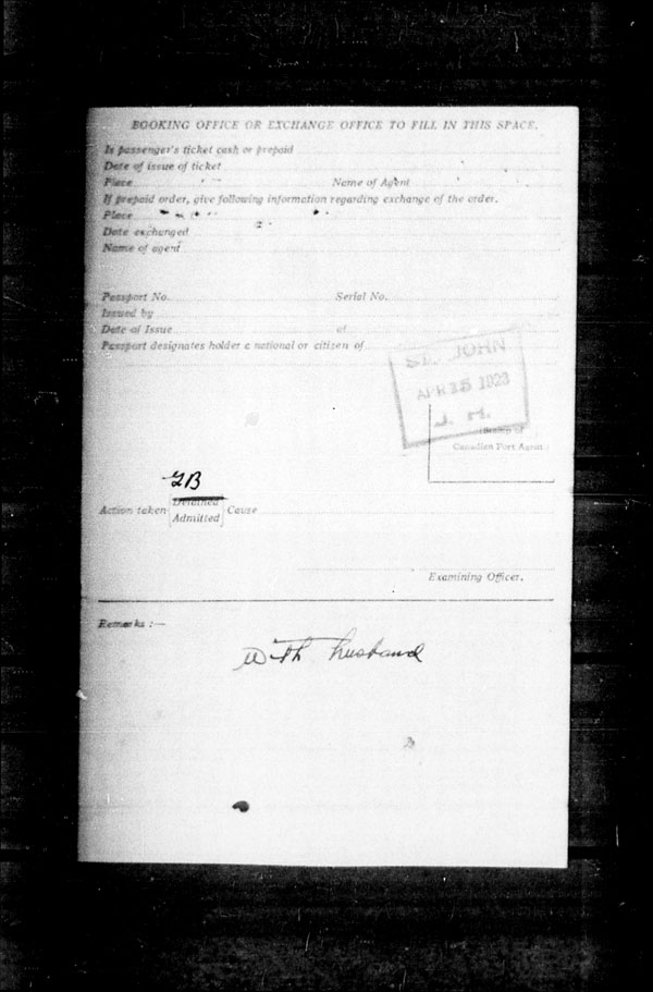 Title: Ocean Arrivals, Form 30A, 1919-1924 - Mikan Number: 161349 - Microform: t-14951