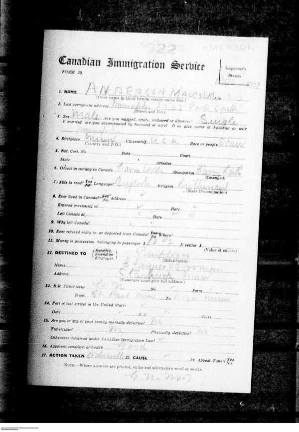 Title: Border Entry, Form 30, 1919-1924 - Mikan Number: 161377 - Microform: t-15250