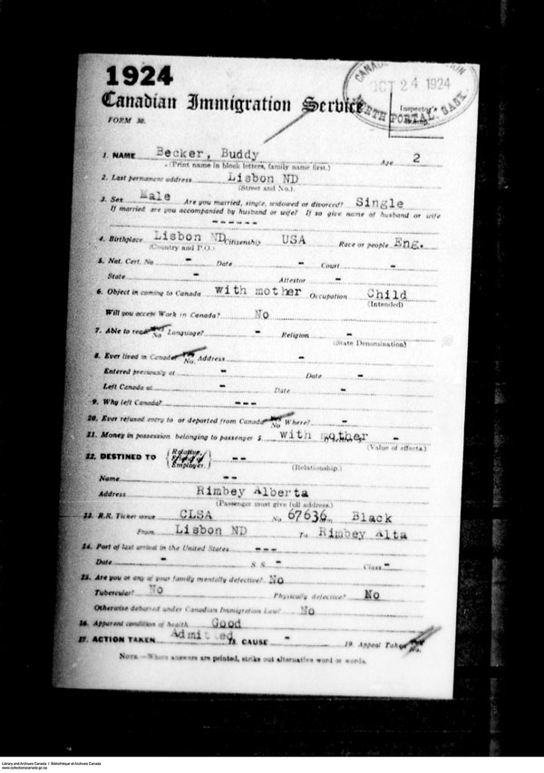 Title: Border Entry, Form 30, 1919-1924 - Mikan Number: 161377 - Microform: t-15254