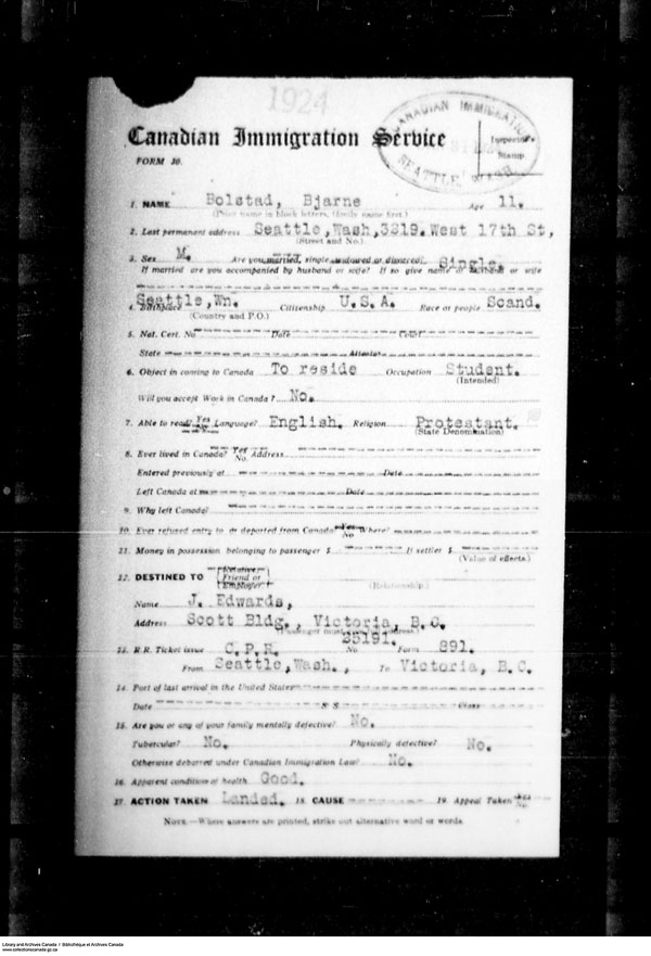 Title: Border Entry, Form 30, 1919-1924 - Mikan Number: 161377 - Microform: t-15258