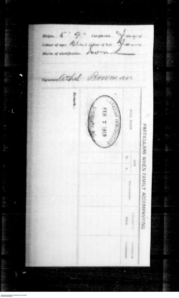 Title: Border Entry, Form 30, 1919-1924 - Mikan Number: 161377 - Microform: t-15259