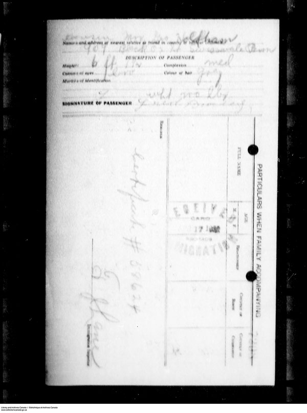 Title: Border Entry, Form 30, 1919-1924 - Mikan Number: 161377 - Microform: t-15262