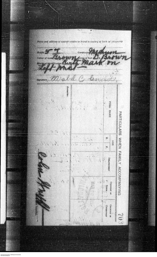 Title: Border Entry, Form 30, 1919-1924 - Mikan Number: 161377 - Microform: t-15268