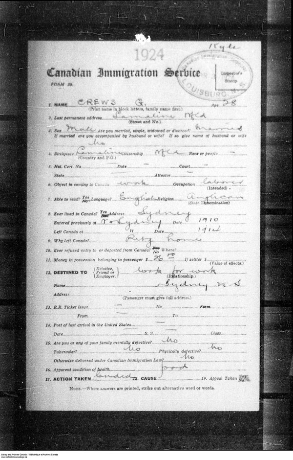Title: Border Entry, Form 30, 1919-1924 - Mikan Number: 161377 - Microform: t-15270