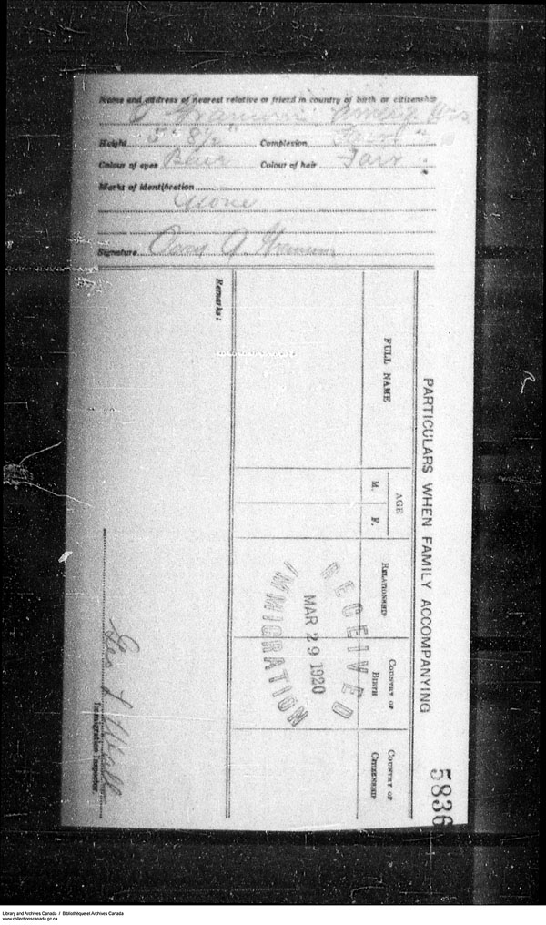 Title: Border Entry, Form 30, 1919-1924 - Mikan Number: 161377 - Microform: t-15284