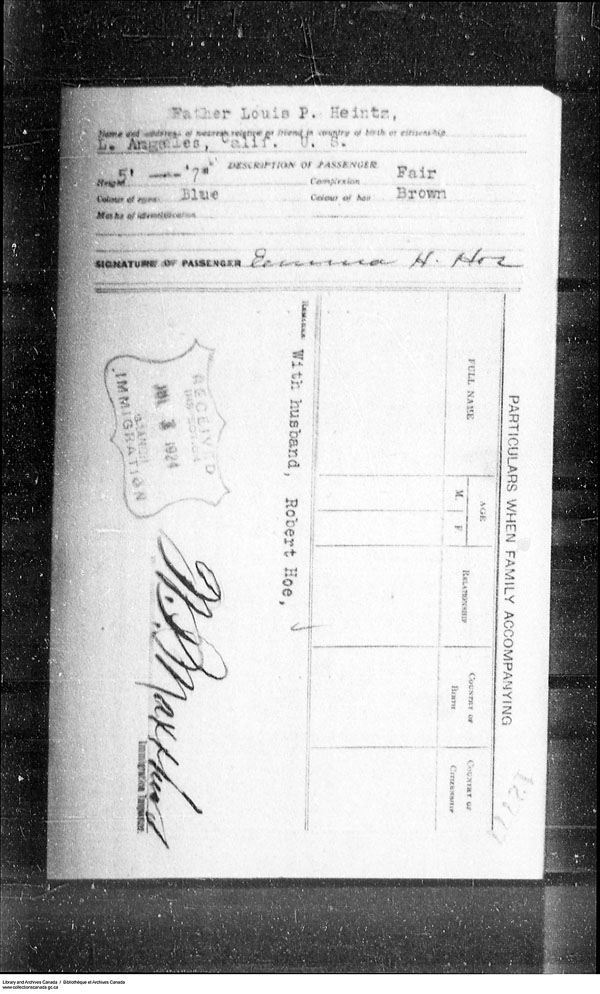 Title: Border Entry, Form 30, 1919-1924 - Mikan Number: 161377 - Microform: t-15290