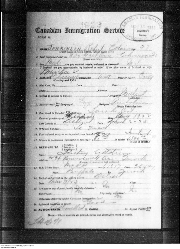 Title: Border Entry, Form 30, 1919-1924 - Mikan Number: 161377 - Microform: t-15292